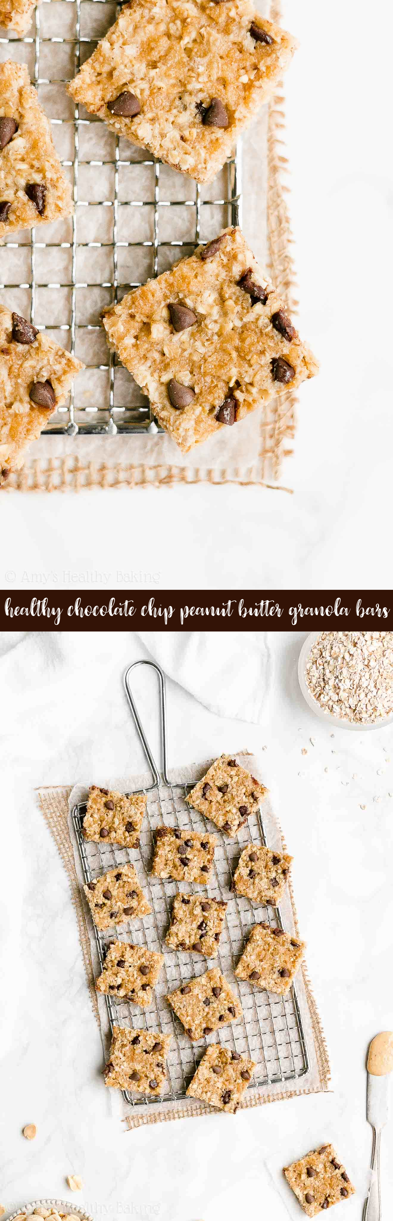 Best Ever Easy Healthy Soft Chewy Chocolate Chip Peanut Butter Granola Bars