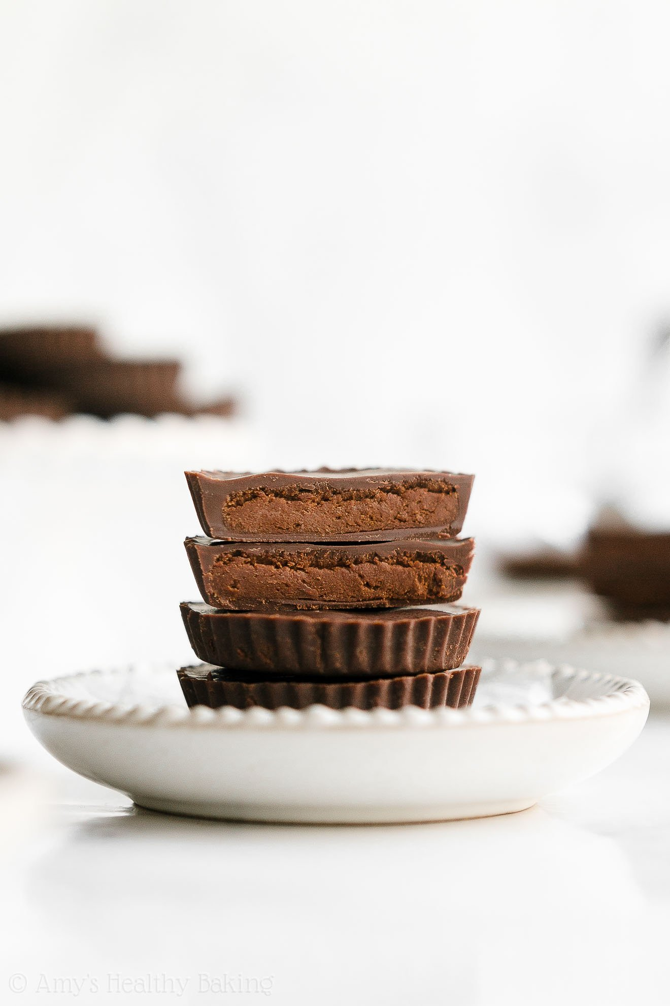 Healthy Homemade Low Calorie Double Dark Chocolate Peanut Butter Cups