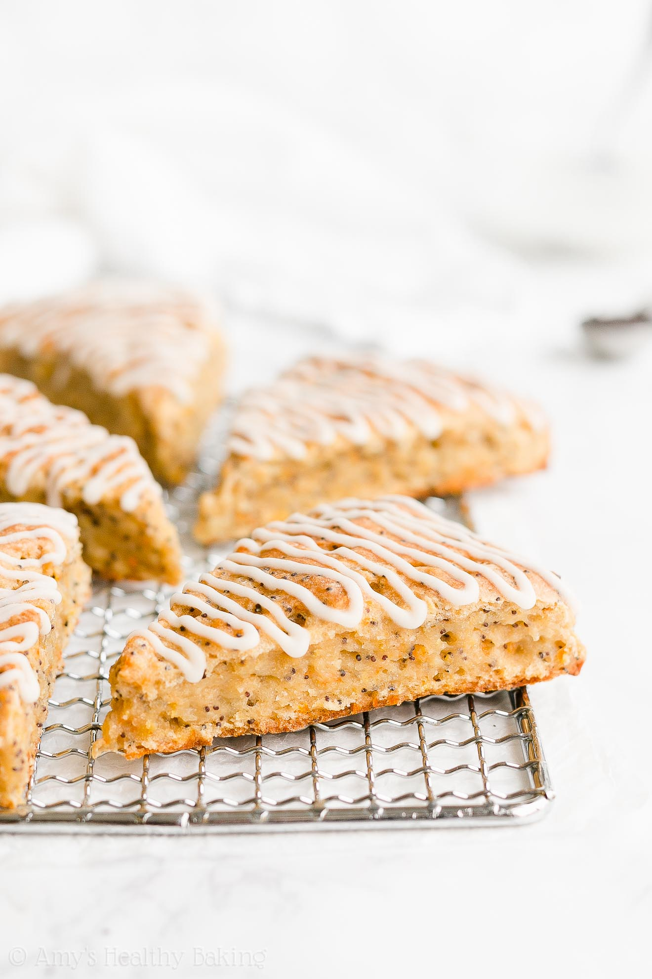 Easy Healthy Moist Low Fat Greek Yogurt Orange Poppy Seed Scones