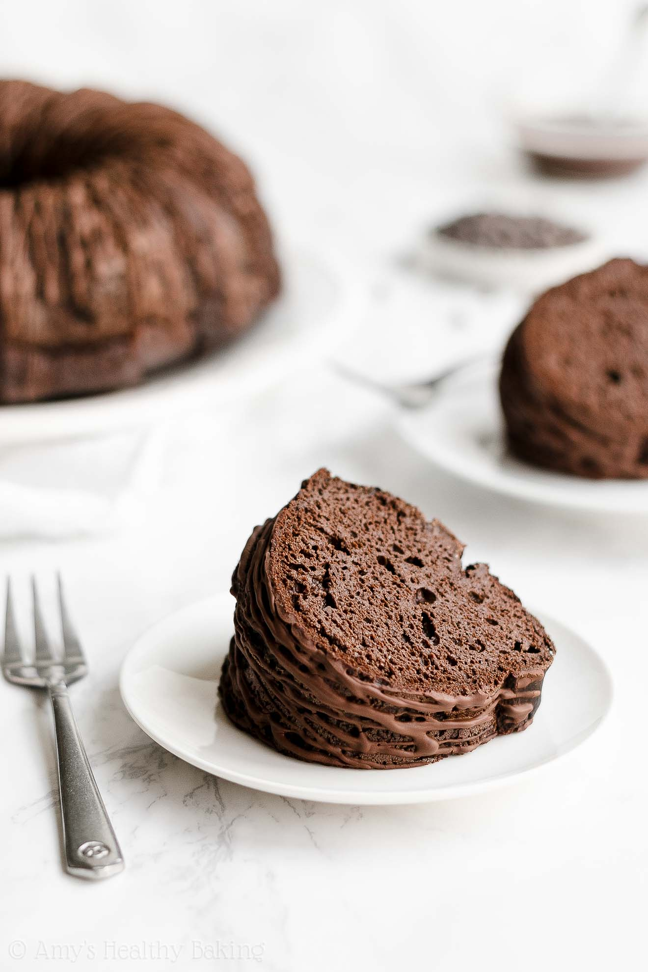 ULTIMATE Best Ever Easy Healthy Moist Double Dark Chocolate Bundt Cake