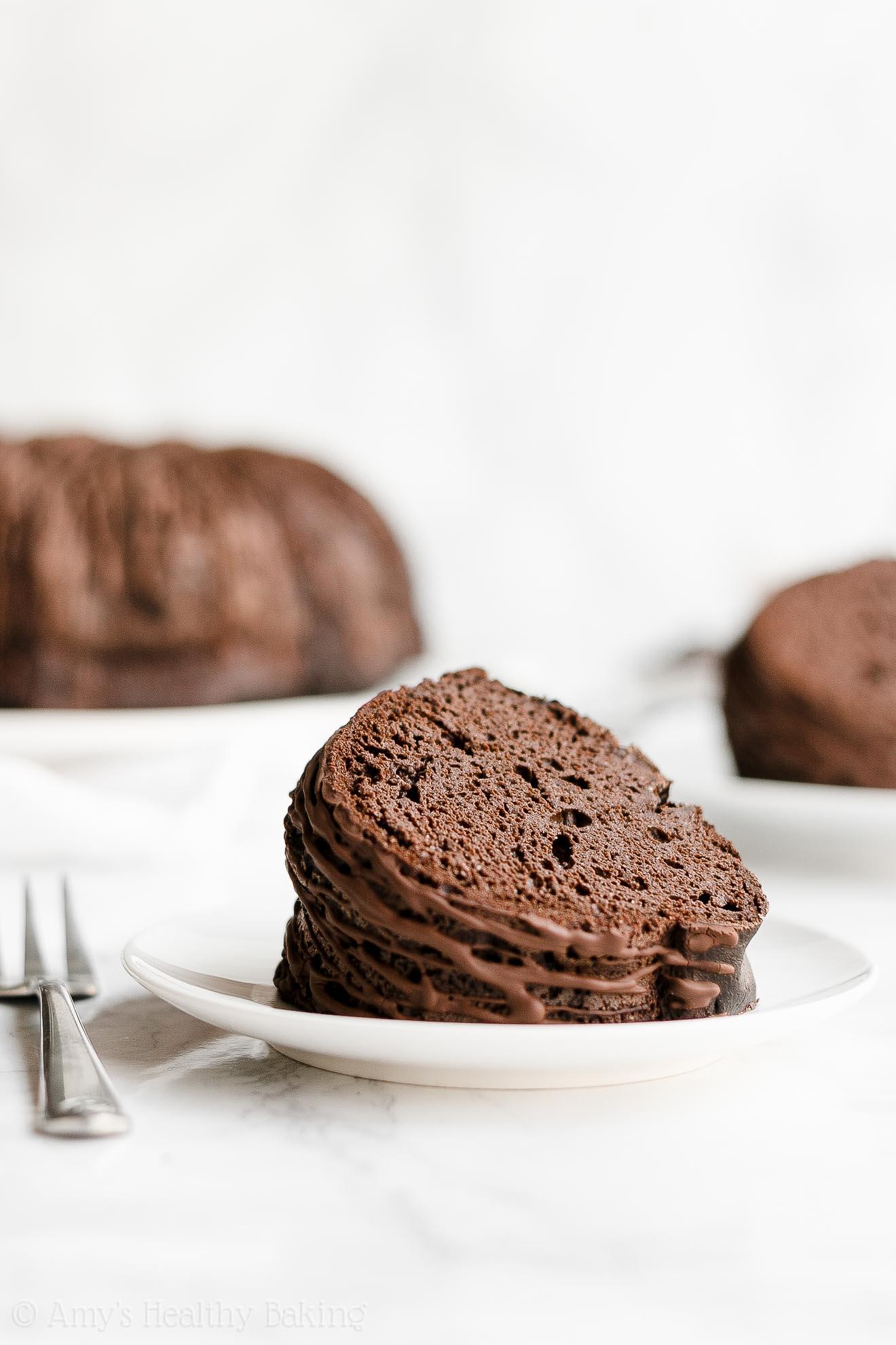 ULTIMATE Best Ever Healthy Low Sugar Low Fat Chocolate Fudge Bundt Cake