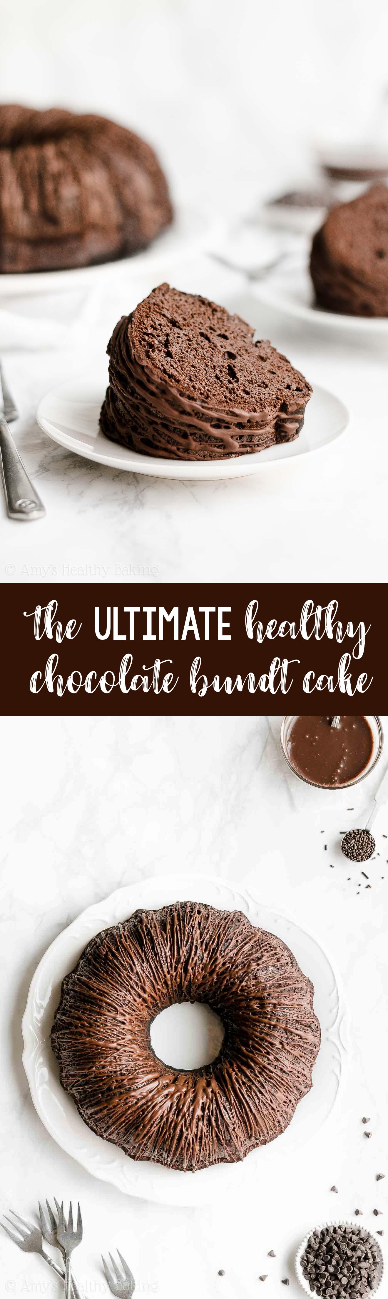 ULTIMATE Best Ever Easy Healthy Moist Greek Yogurt Chocolate Bundt Cake