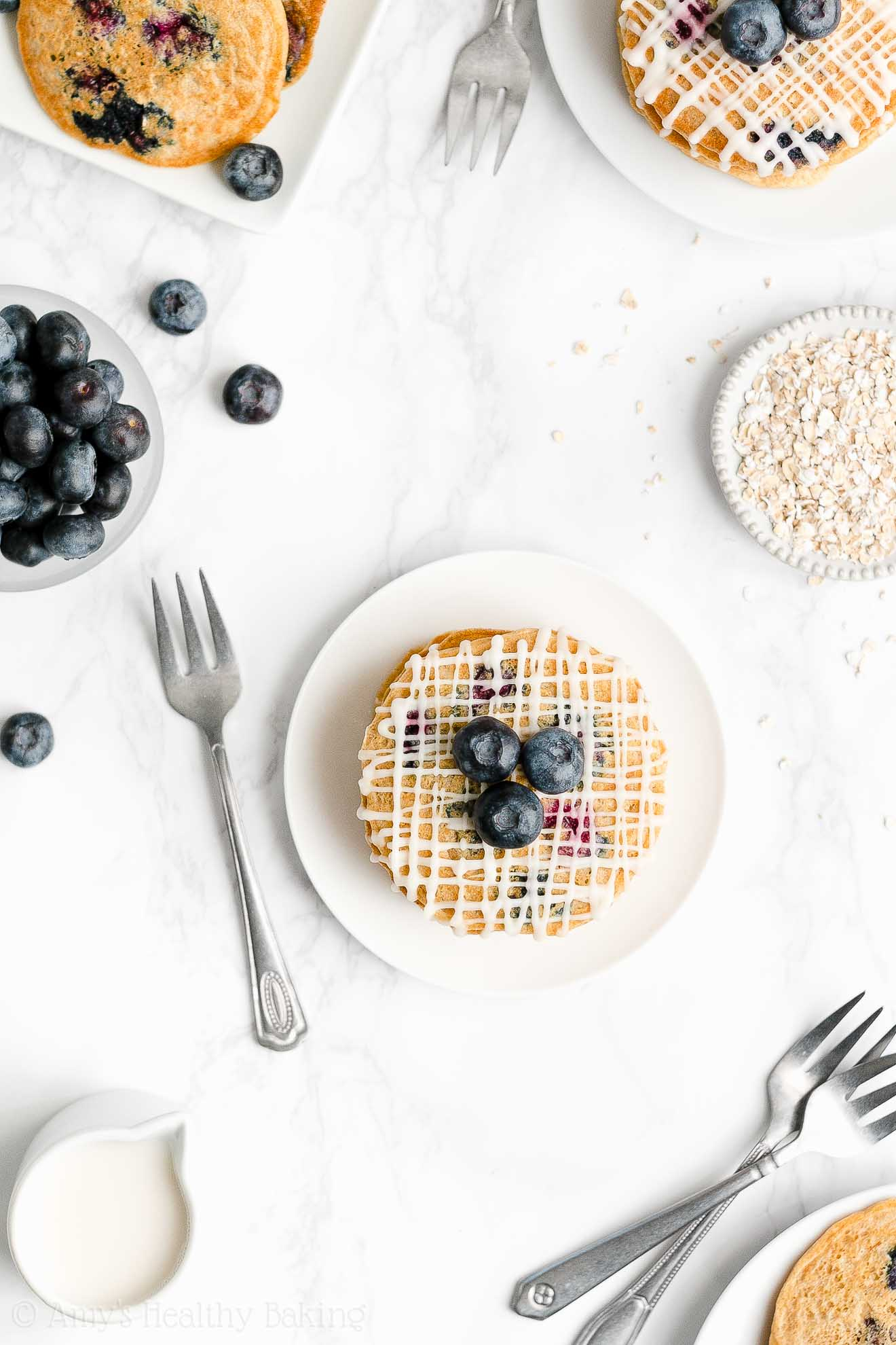 Easy Healthy Weight Watchers Clean Eating Blueberry Oatmeal Pancakes