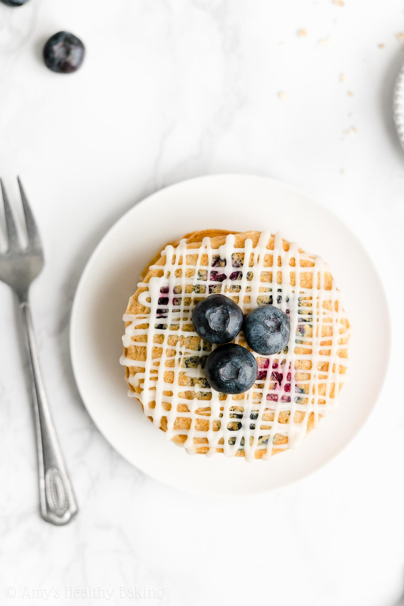 Easy Healthy Low Sugar Low Calorie Fluffy Blueberry Oatmeal Pancakes