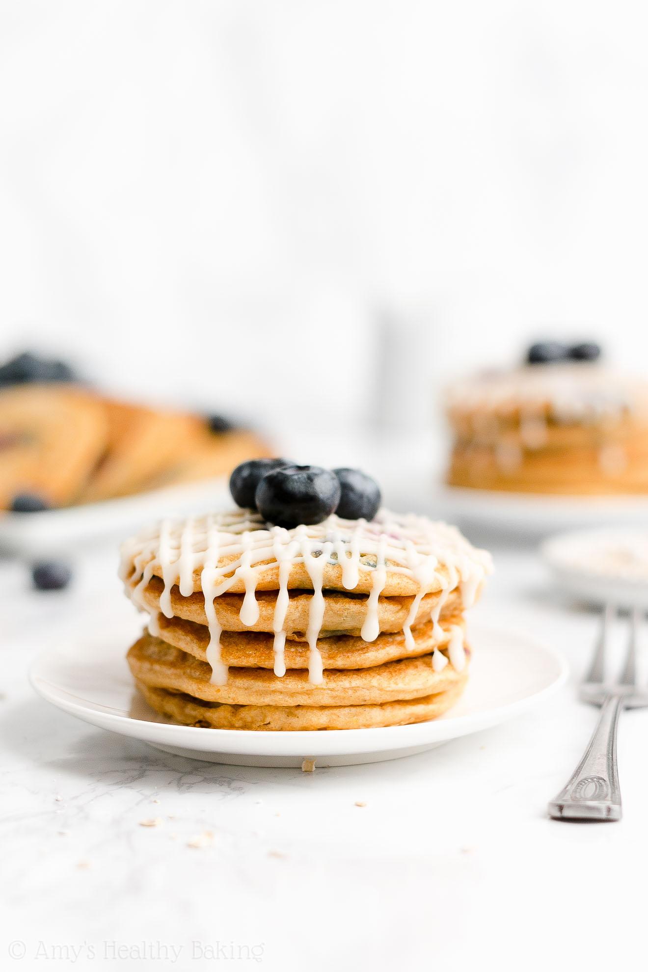 Easy Healthy Low Fat No Sugar Fluffy Greek Yogurt Blueberry Oatmeal Pancakes