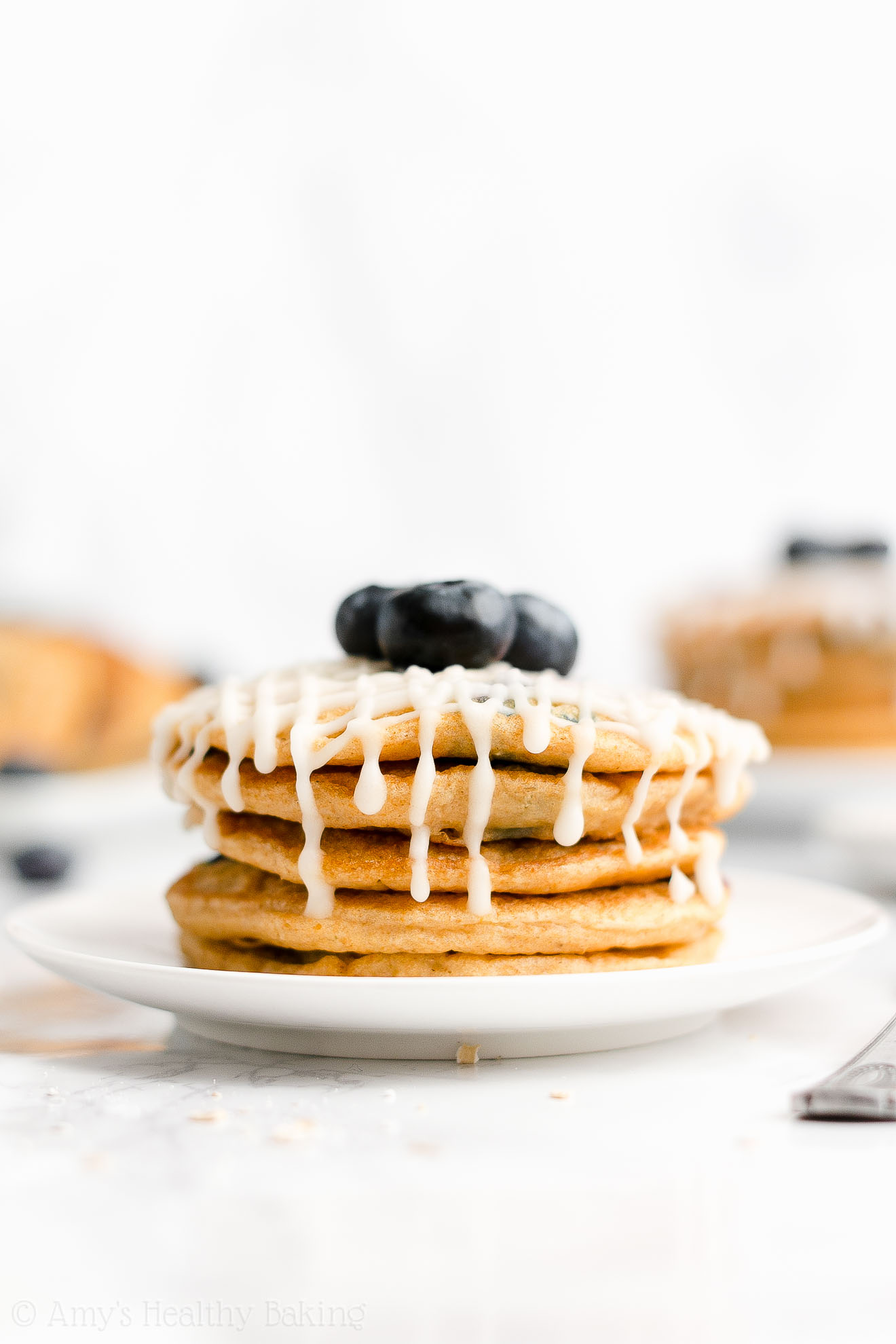 Easy Healthy Clean Eating Whole Wheat Fluffy Blueberry Oatmeal Pancakes