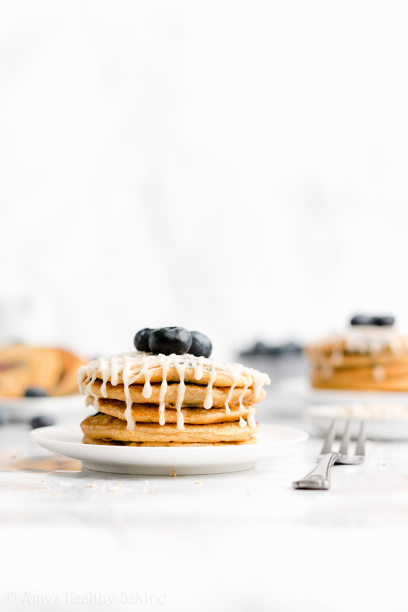 Easy Healthy Fluffy Greek Yogurt Blueberry Oatmeal Pancakes