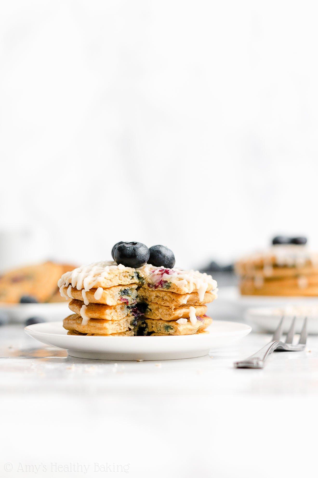 Easy Healthy Gluten Free Greek Yogurt Fluffy Blueberry Oatmeal Pancakes