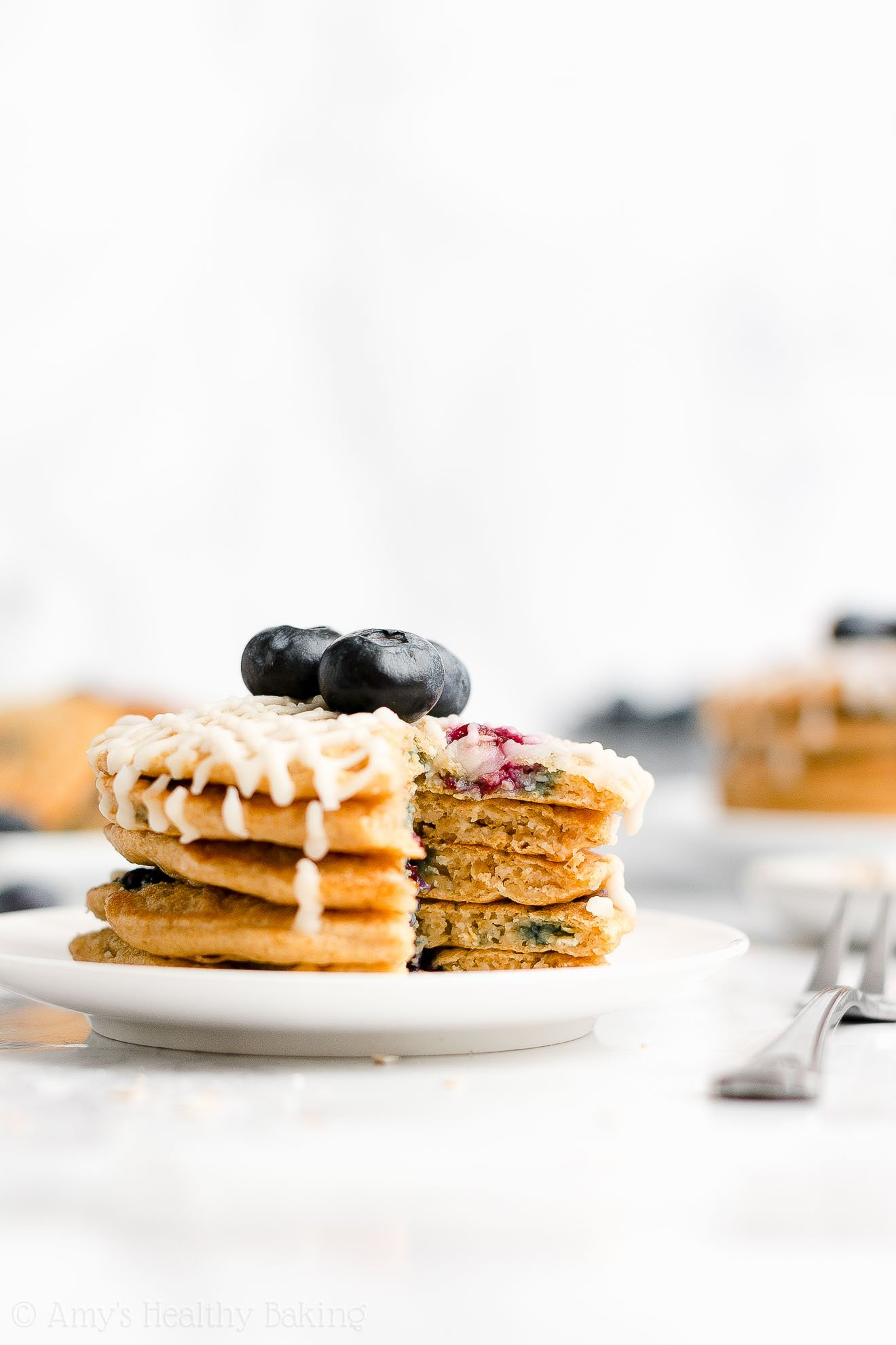 Easy Healthy Whole Wheat Low Calorie Fluffy Blueberry Oatmeal Pancakes
