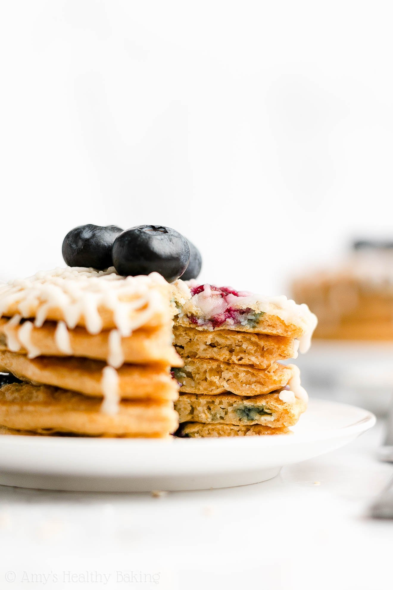 Easy Gluten Free Low Calorie Healthy Fluffy Blueberry Oatmeal Pancakes