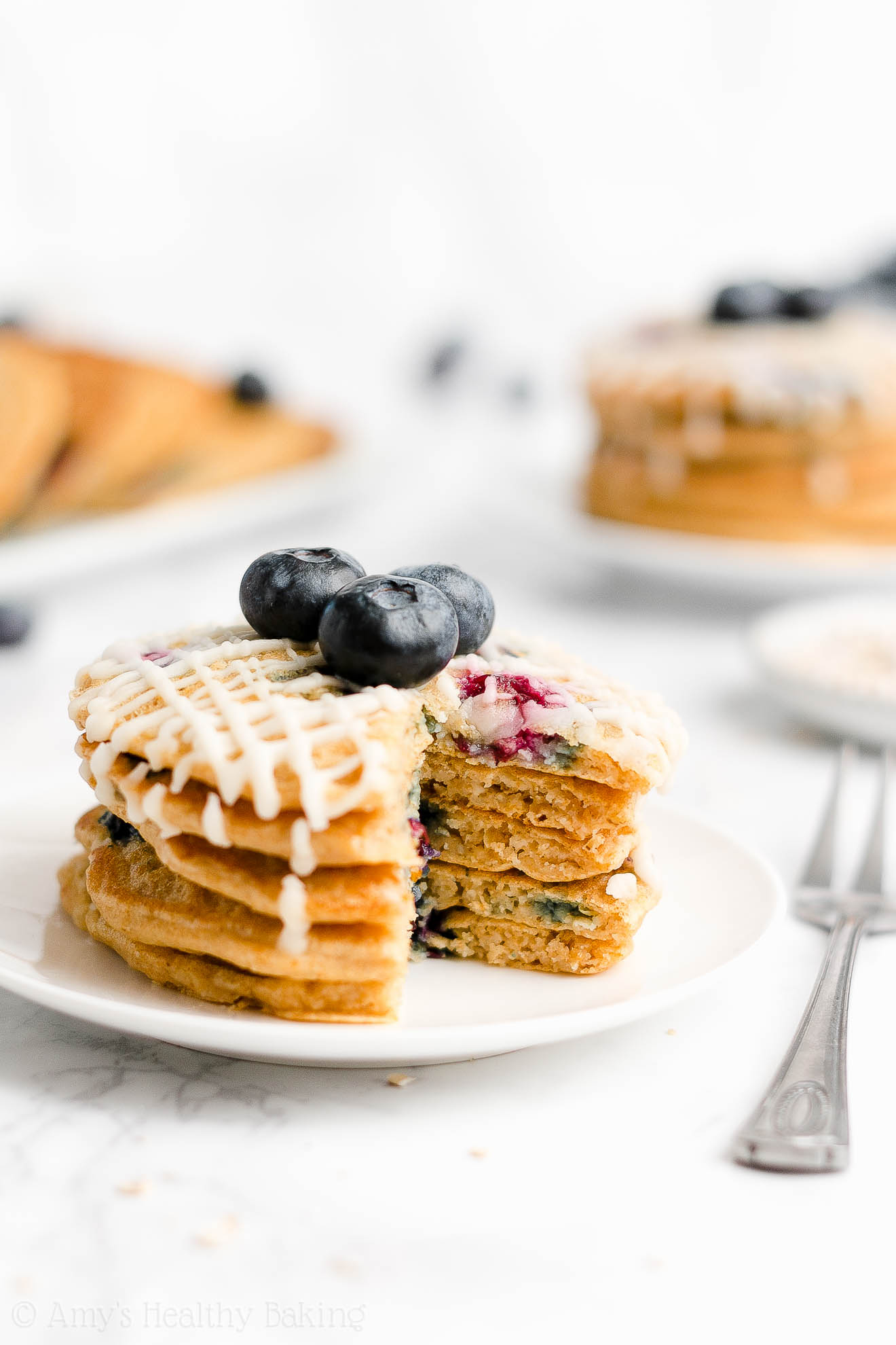 Easy Healthy Low Sugar Fluffy Whole Wheat Blueberry Oatmeal Pancakes