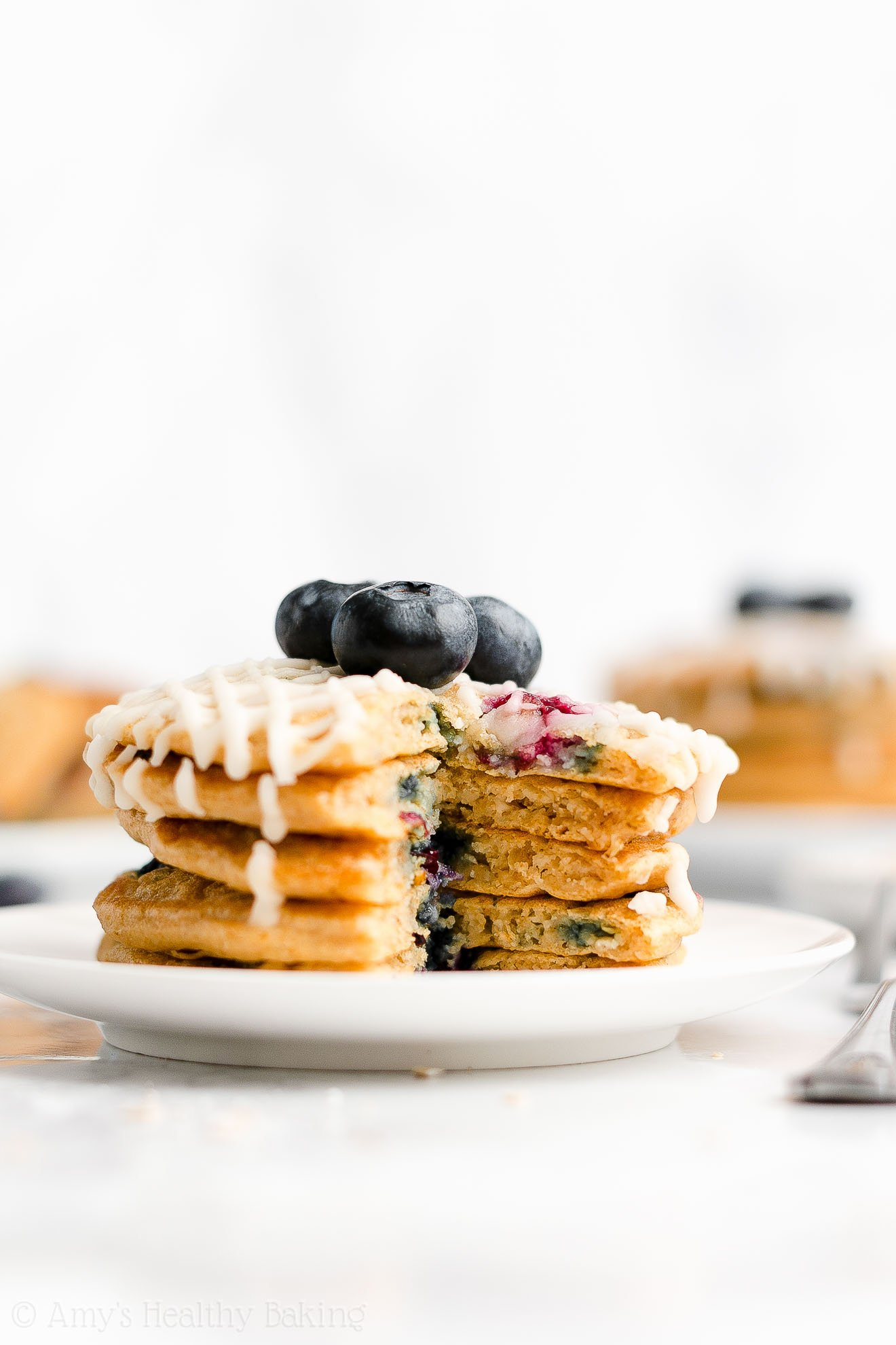 Best Easy Healthy Low Calorie Fluffy Greek Yogurt Blueberry Oatmeal Pancakes