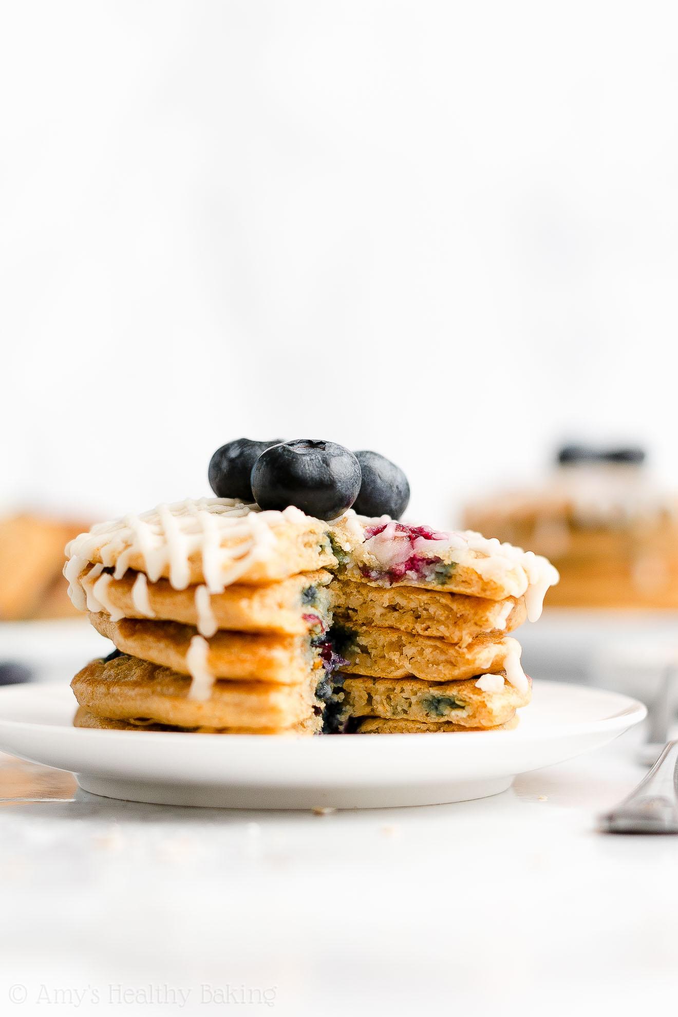 Best Easy Healthy Low Calorie Fluffy Greek Yogurt Blueberry Oatmeal Pancakes