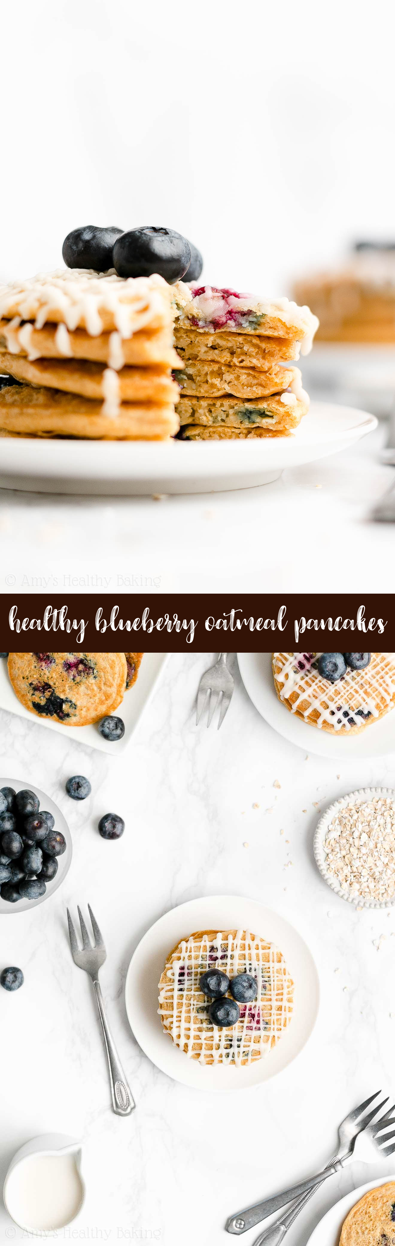 Best Ever Easy Healthy Fluffy Greek Yogurt Blueberry Oatmeal Pancakes
