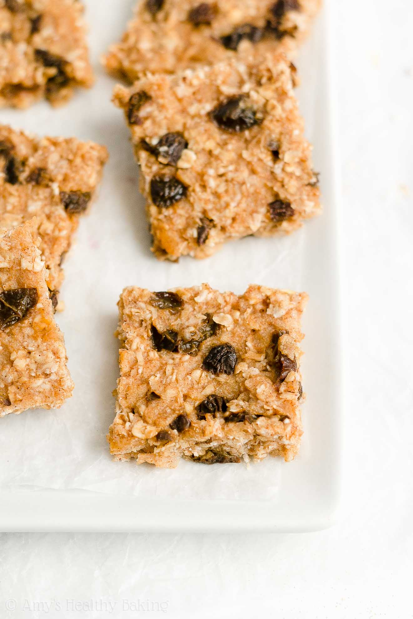 Easy Healthy Gluten Free Low Fat Soft Chewy Oatmeal Raisin Granola Bars