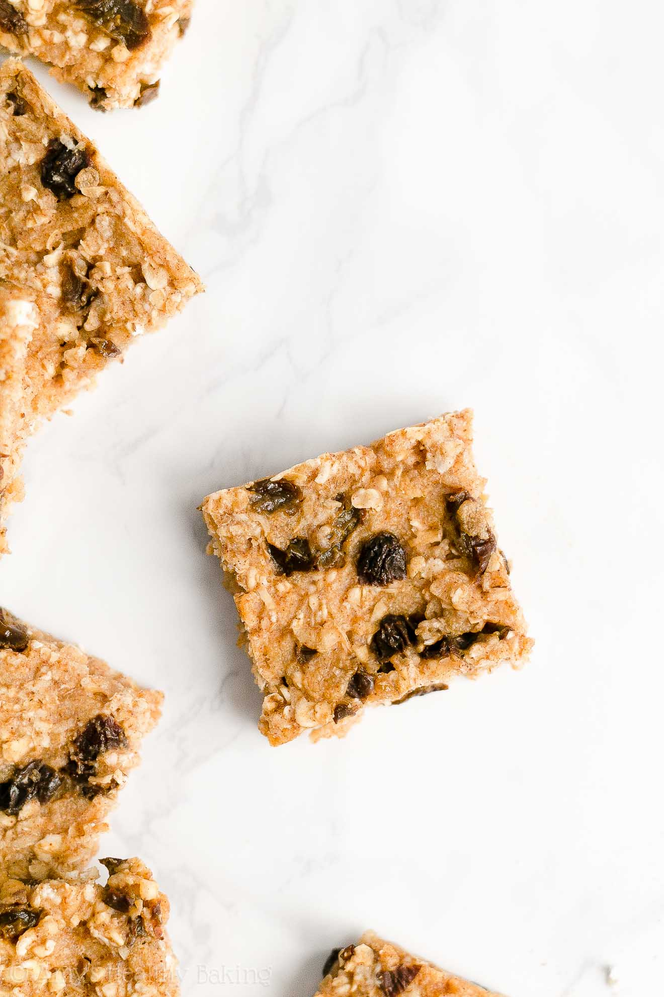 Easy Healthy Clean Eating Low Sugar Chewy Oatmeal Raisin Granola Bars