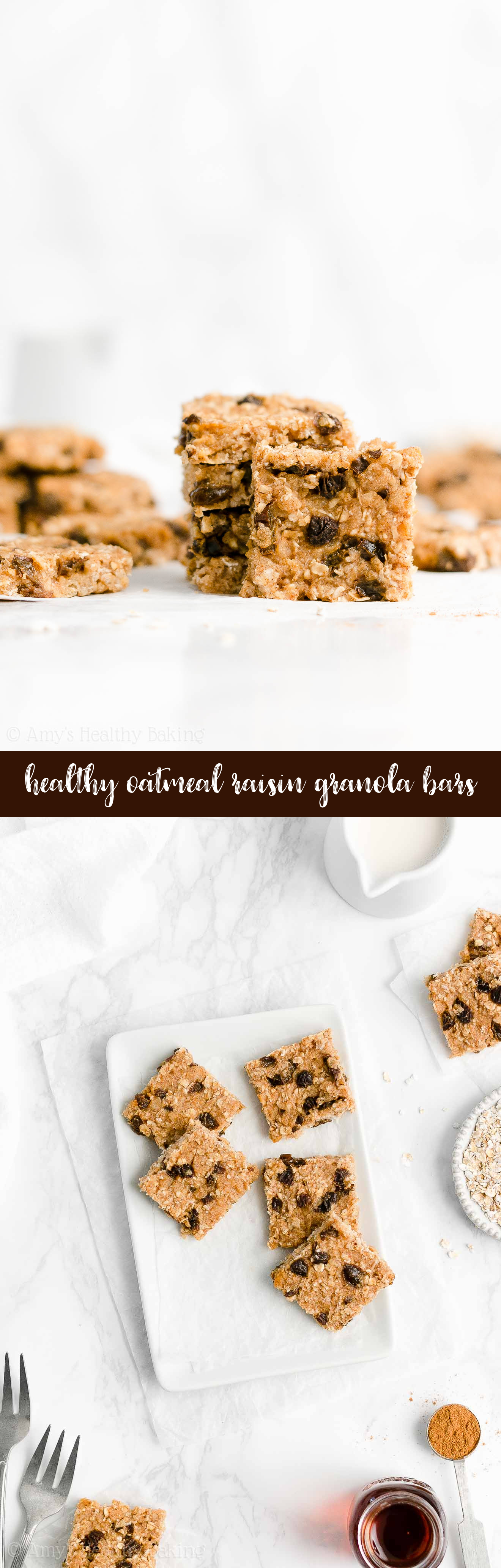 Best Ever Easy Healthy Homemade Low Fat Chewy Oatmeal Raisin Granola Bars