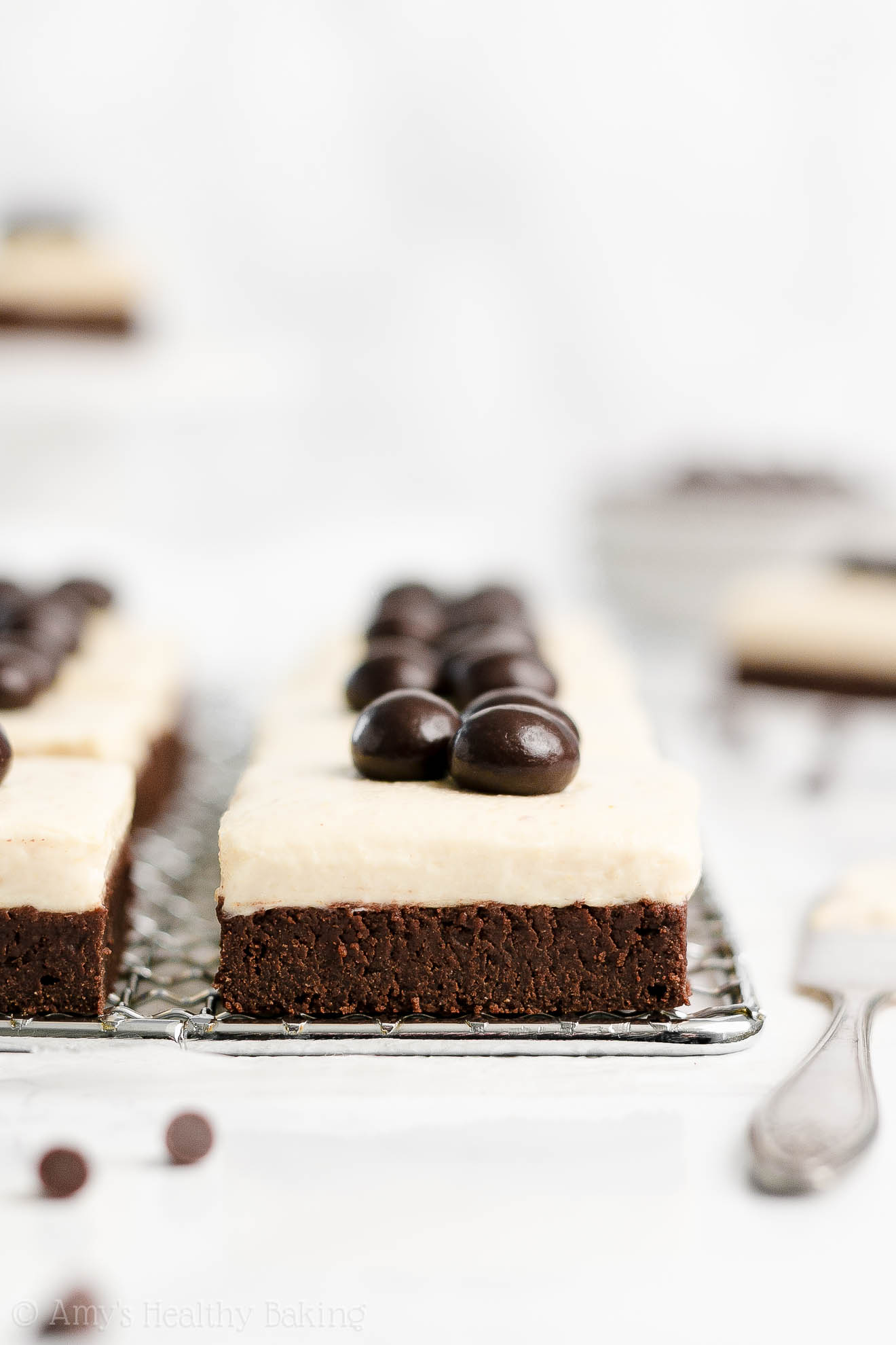Healthy Gluten Free Fudgy Dark Chocolate Brownies + Low Sugar Peanut Butter Frosting