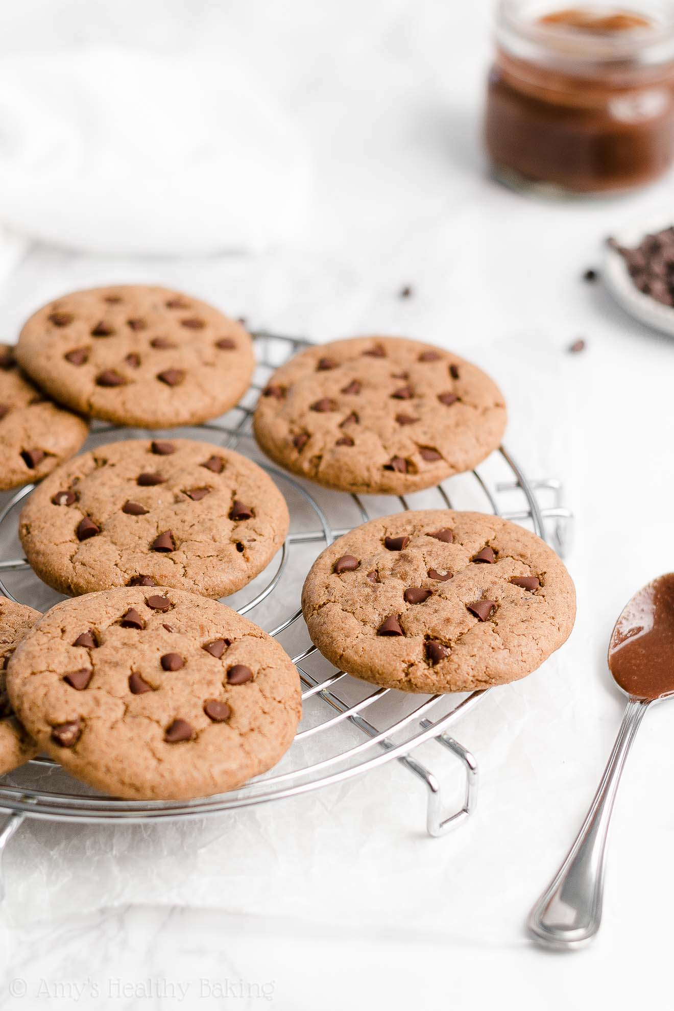 Easy Healthy Vegan Gluten Free Flourless Nutella Chocolate Chip Cookies
