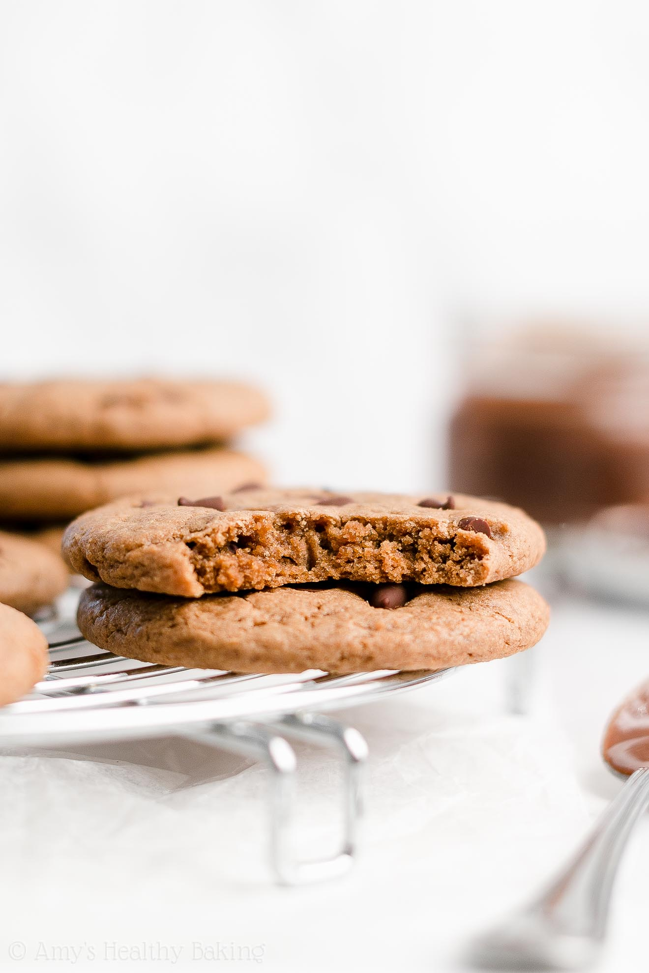 Best Healthy Low Calorie Chewy Flourless Nutella Chocolate Chip Cookies