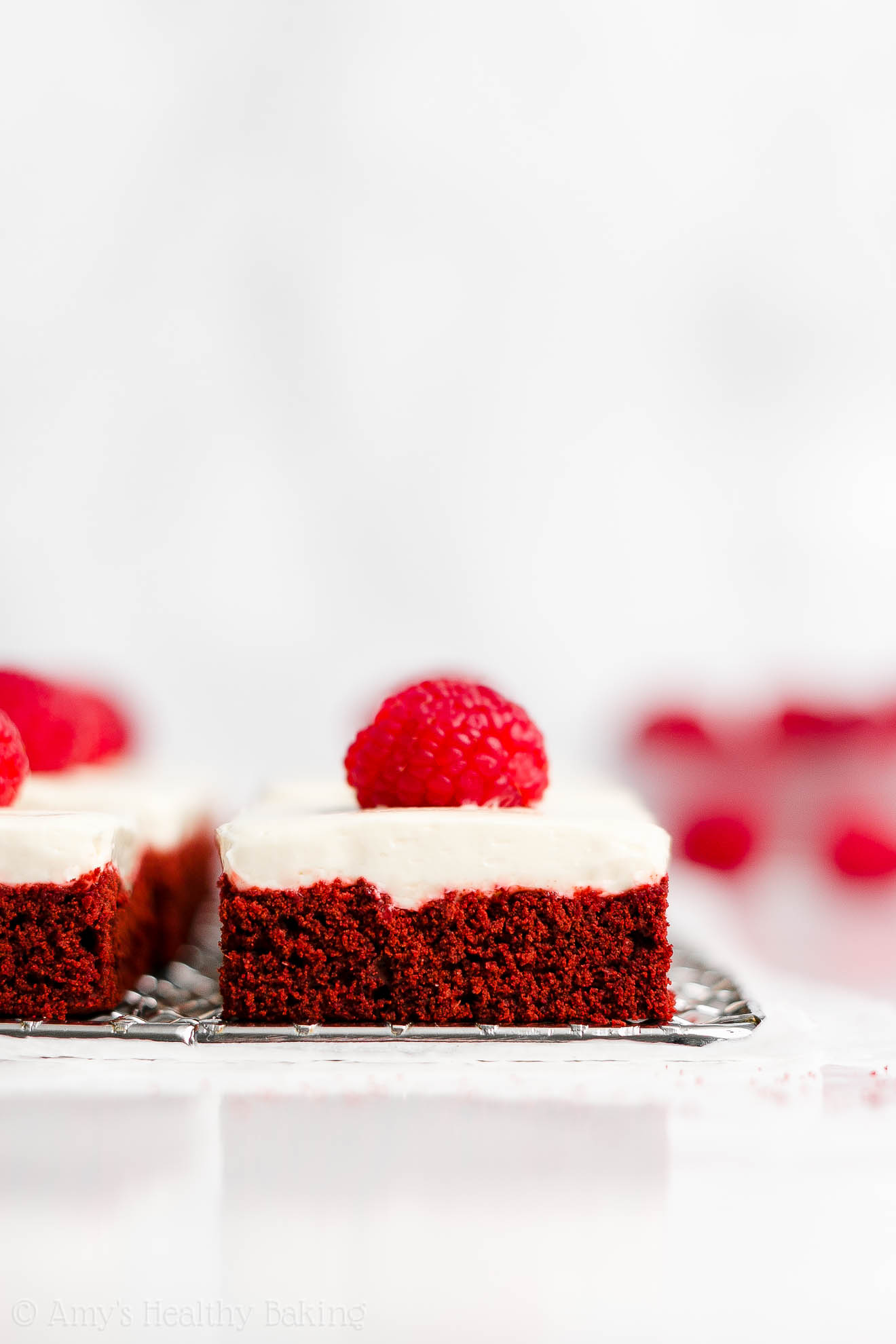 Easy Healthy Sugar Free Red Velvet Cookie Bars + Cream Cheese Frosting