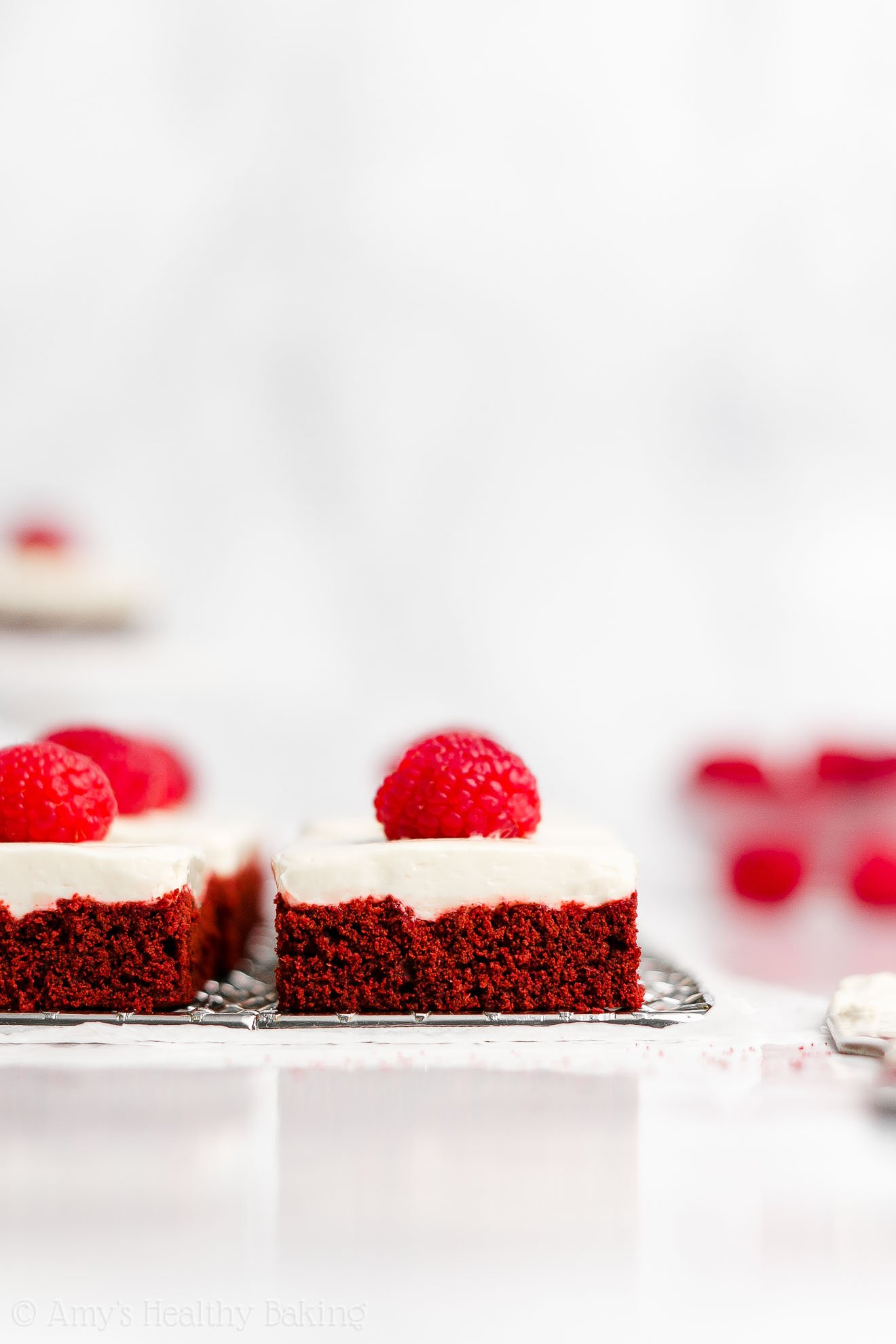 Healthy Low Calorie Soft Red Velvet Cookie Bars + Cream Cheese Frosting