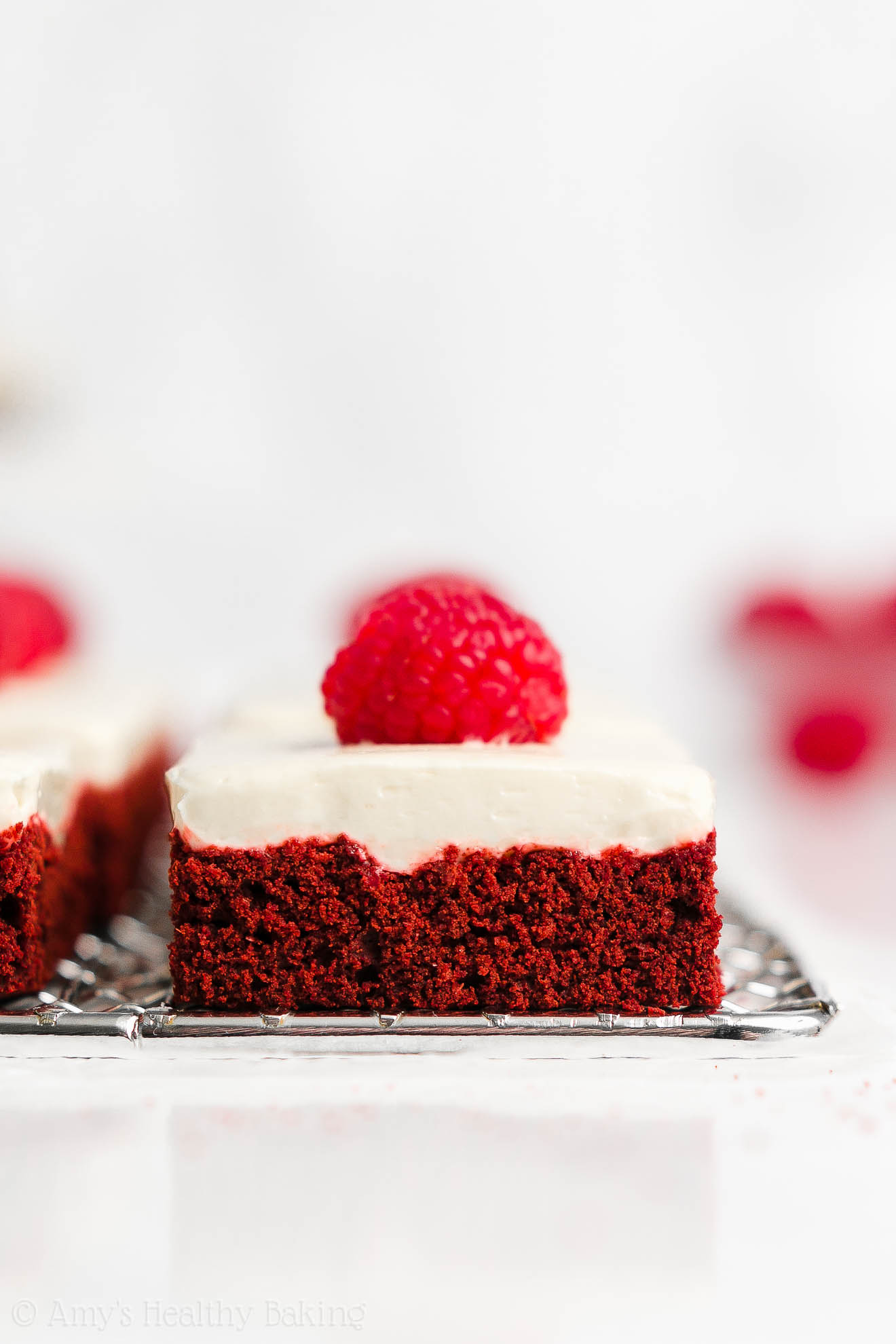 Healthy Homemade Chewy Red Velvet Cookie Bars + Cream Cheese Frosting
