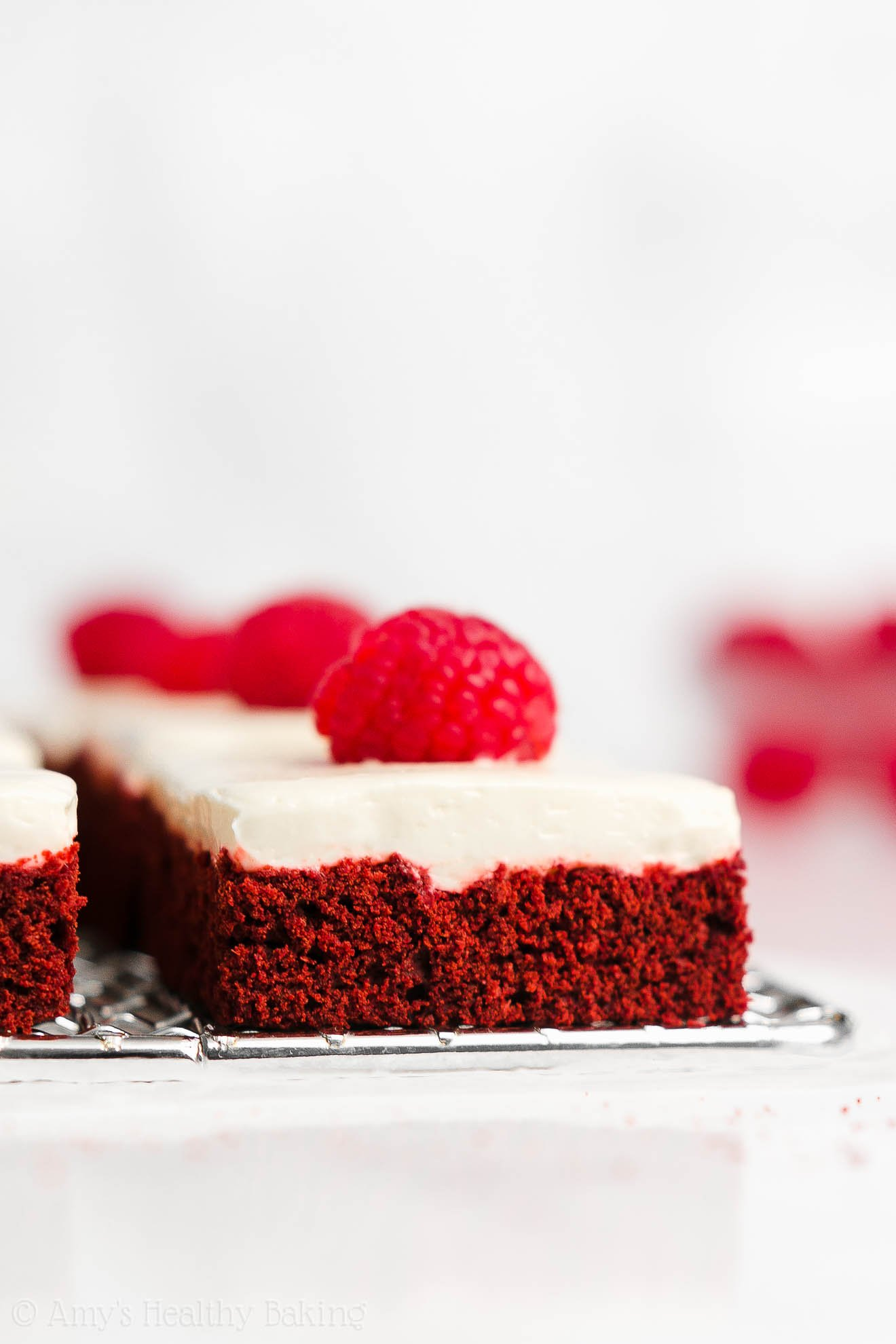 Healthy Weight Watchers Red Velvet Cookie Bars + Cream Cheese Frosting