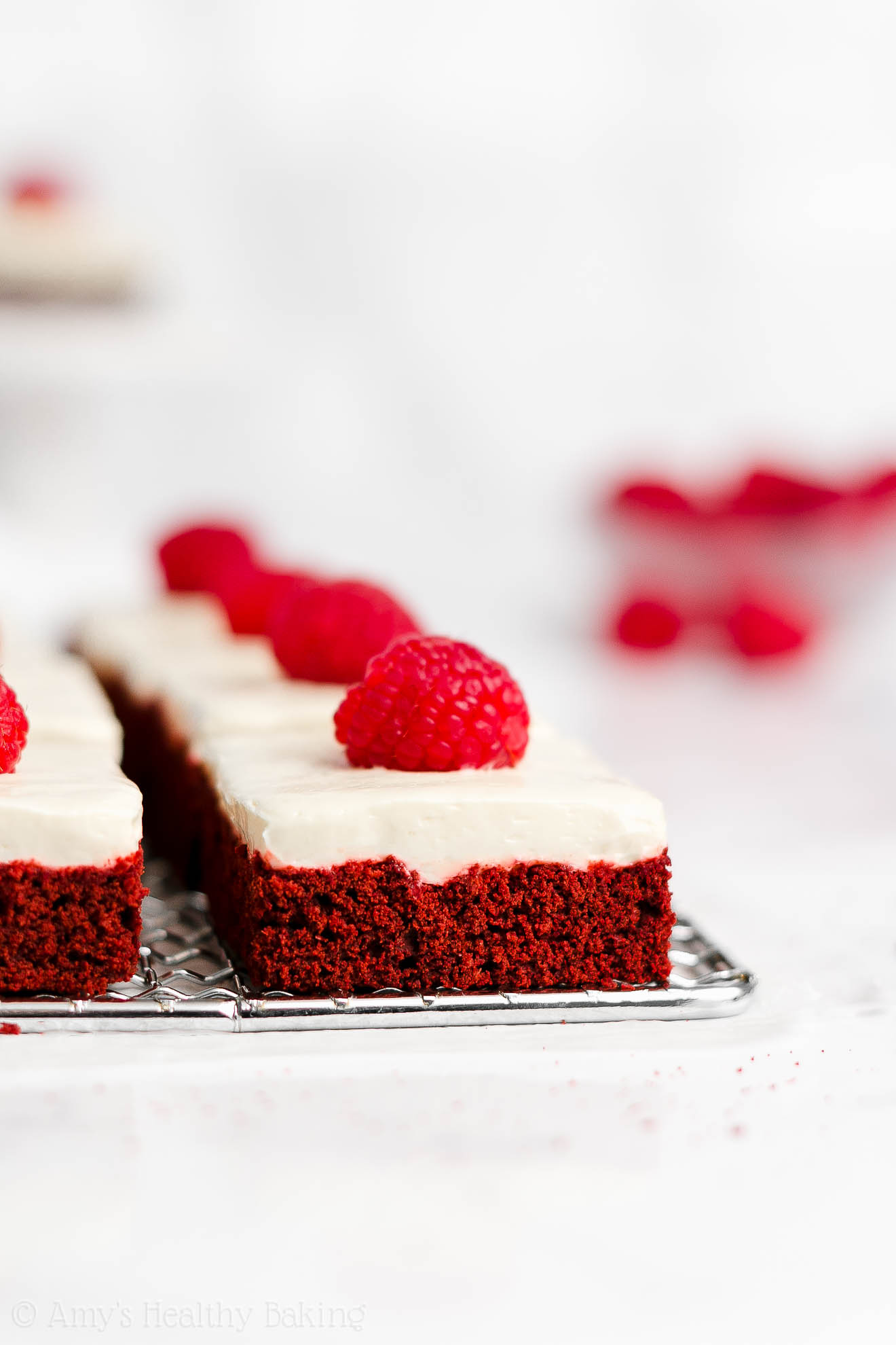 Healthy Red Velvet Cookie Bars with Cream Cheese Frosting for Christmas