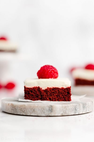Healthy Red Velvet Cookie Bars with Cream Cheese Frosting
