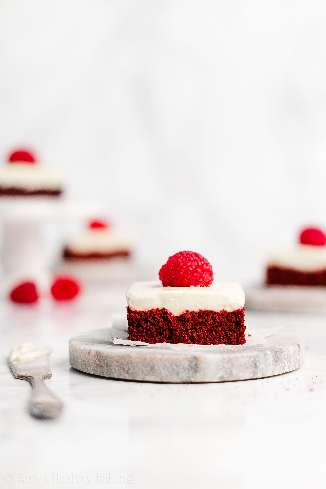 Easy Healthy Red Velvet Cookie Bars + Greek Yogurt Cream Cheese Frosting