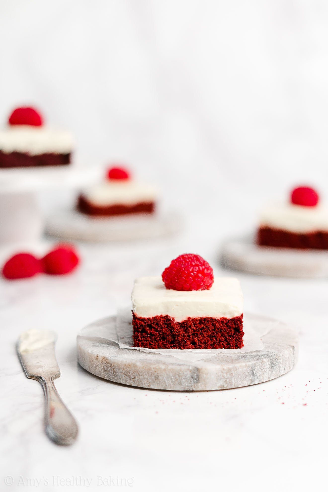 Healthy Red Velvet Cookie Bars + Cream Cheese Frosting for the 4th of July