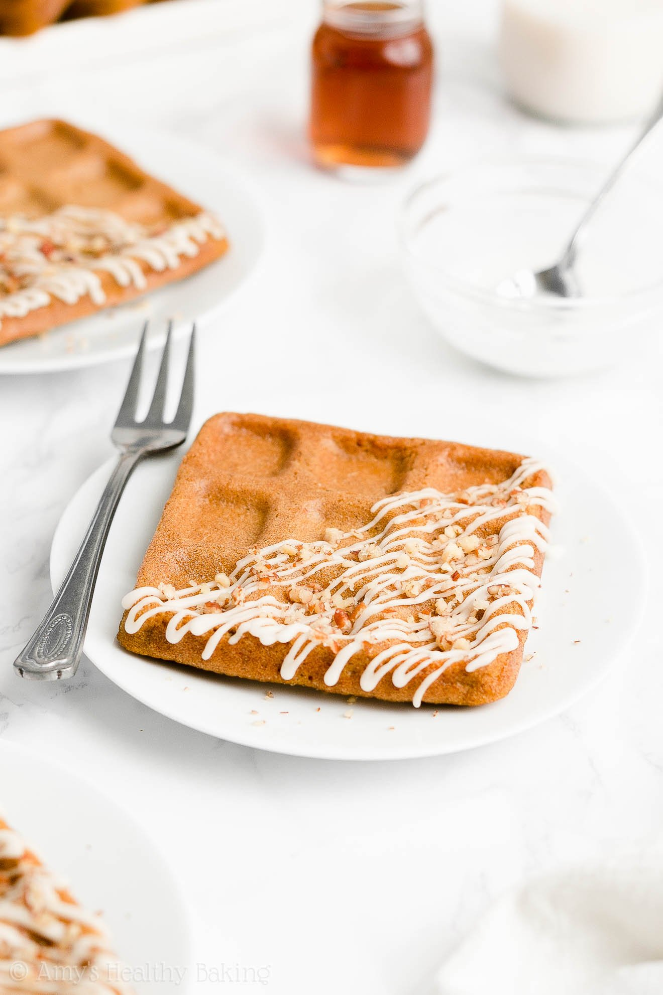 Easy Healthy Weight Watchers Low Calorie Fluffy Baked Carrot Cake Waffles