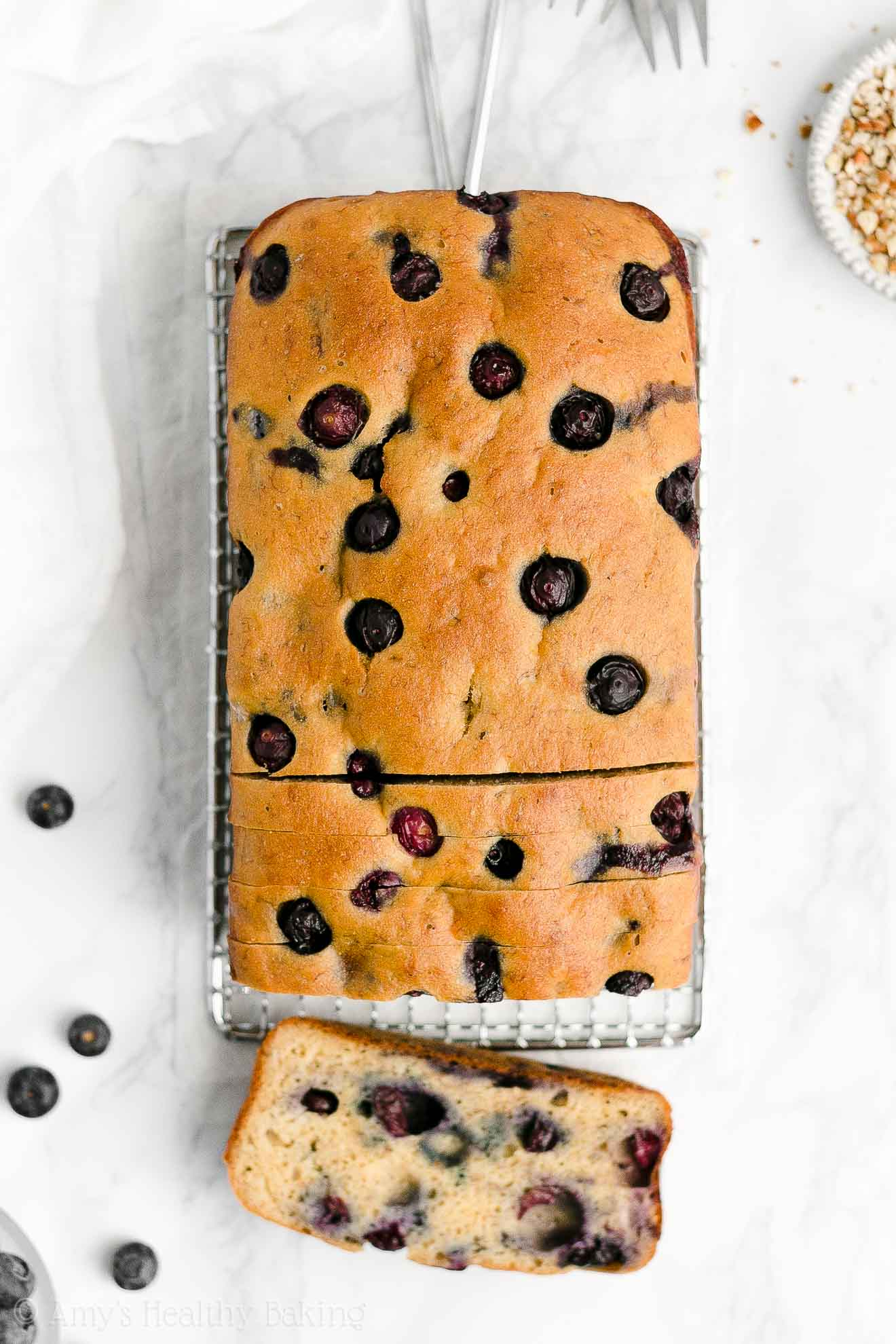 Easy Healthy Whole Wheat Low Fat Low Sugar Blueberry Almond Banana Bread