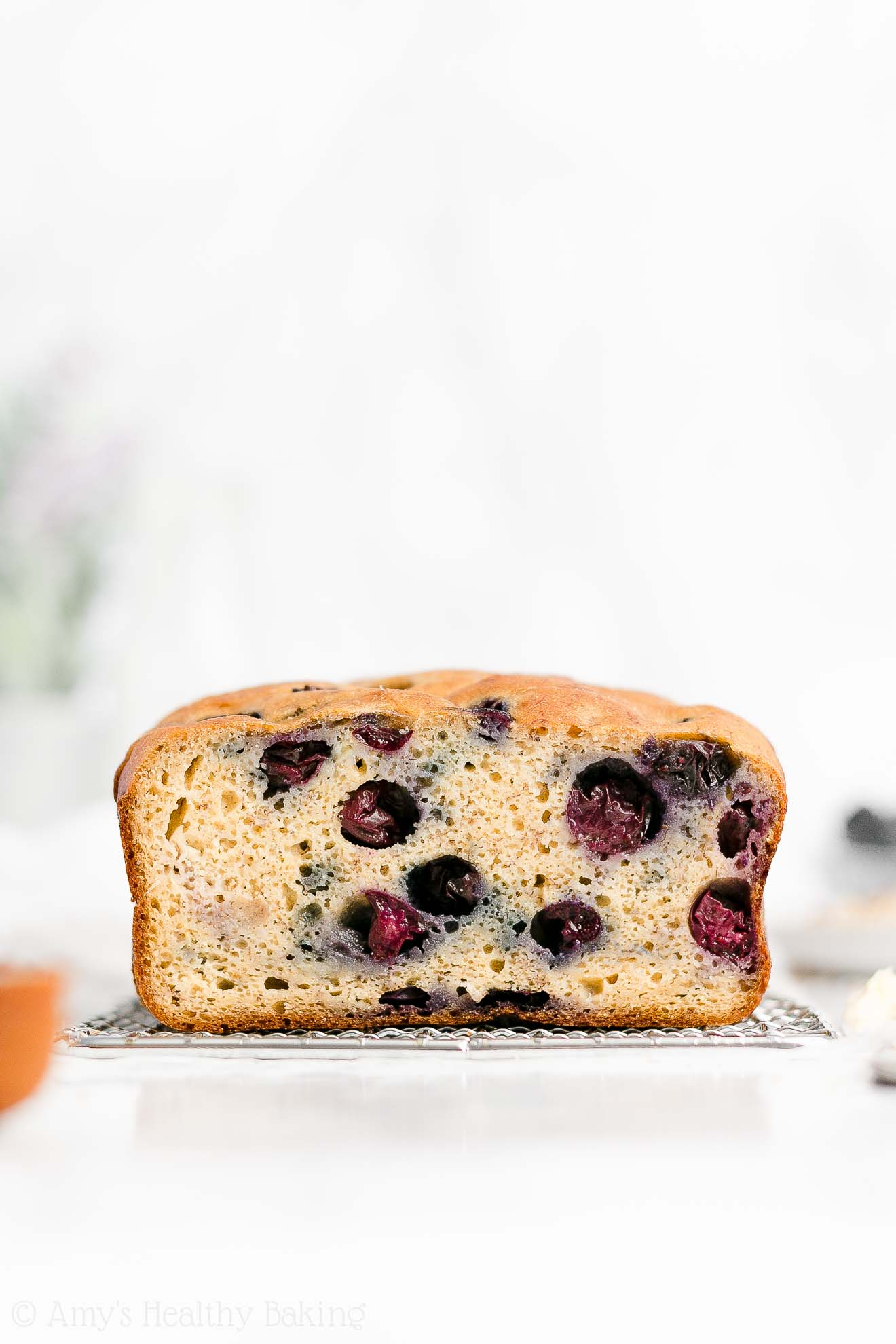 Easy Healthy Clean Eating Whole Wheat Moist Blueberry Almond Banana Bread