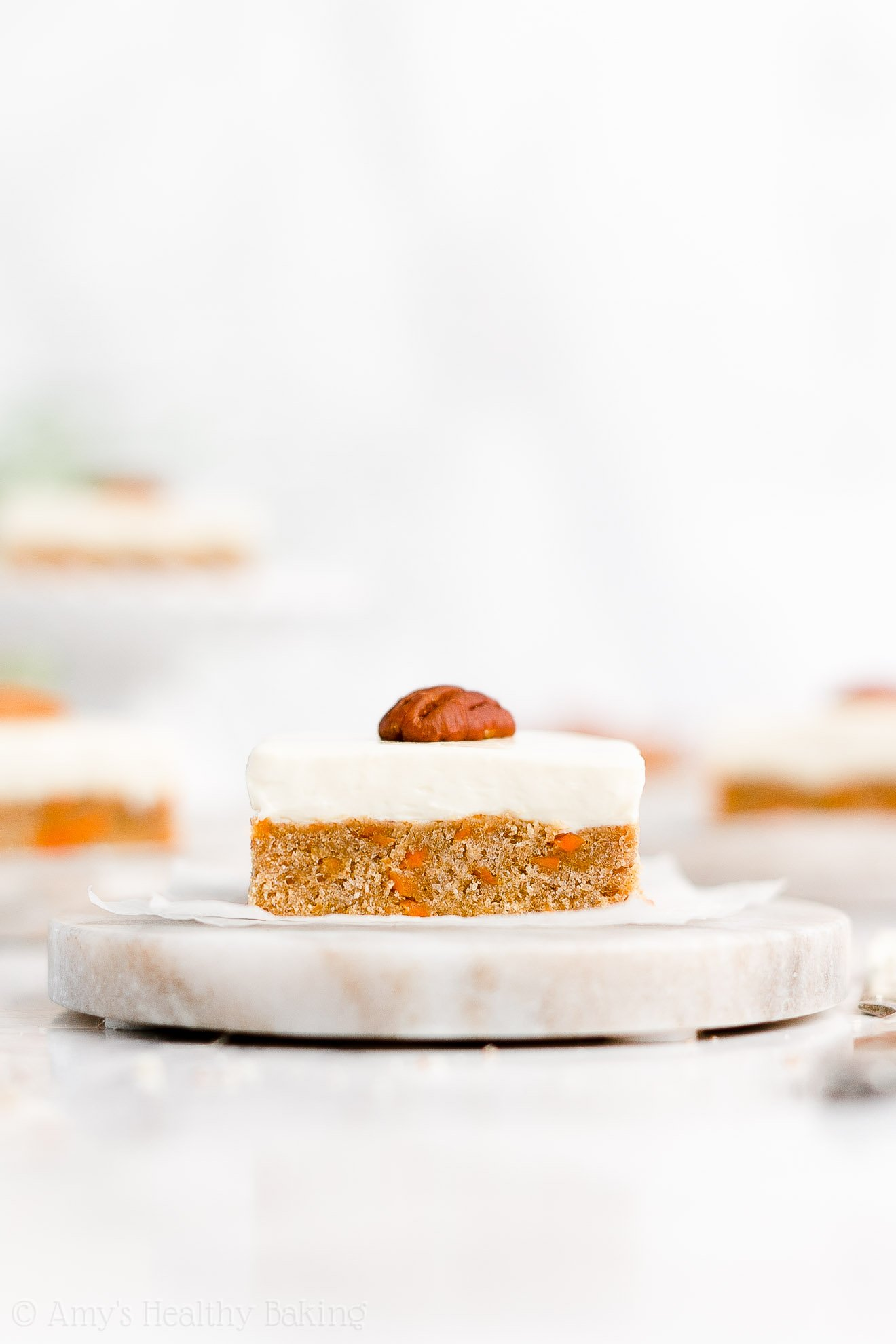 Easy Healthy Homemade Low Calorie Carrot Cake Cookie Bars + Cream Cheese Frosting