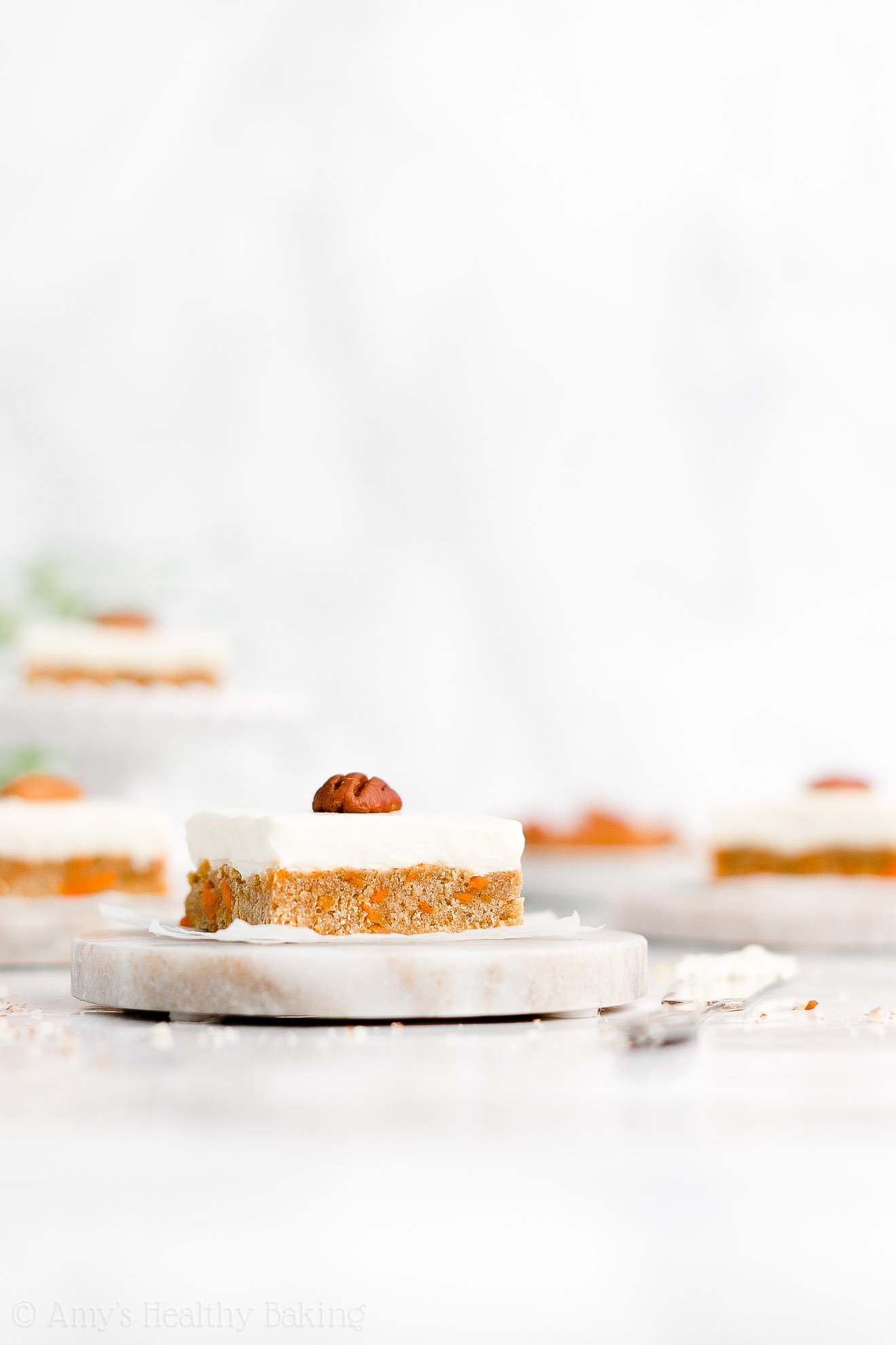 Easy Healthy Low Sugar Soft Carrot Cake Cookie Bars + Cream Cheese Frosting