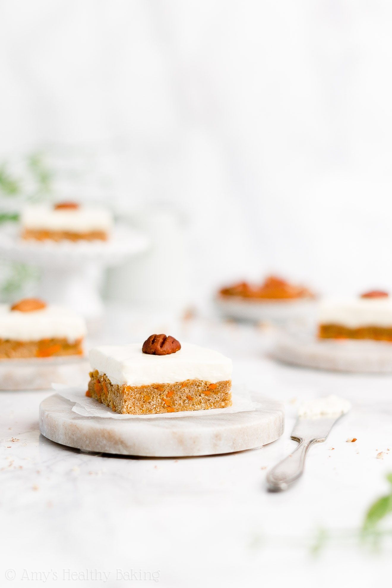 Easy Healthy Gluten Free Low Fat No Sugar Carrot Cake Cookie Bars + Cream Cheese Frosting