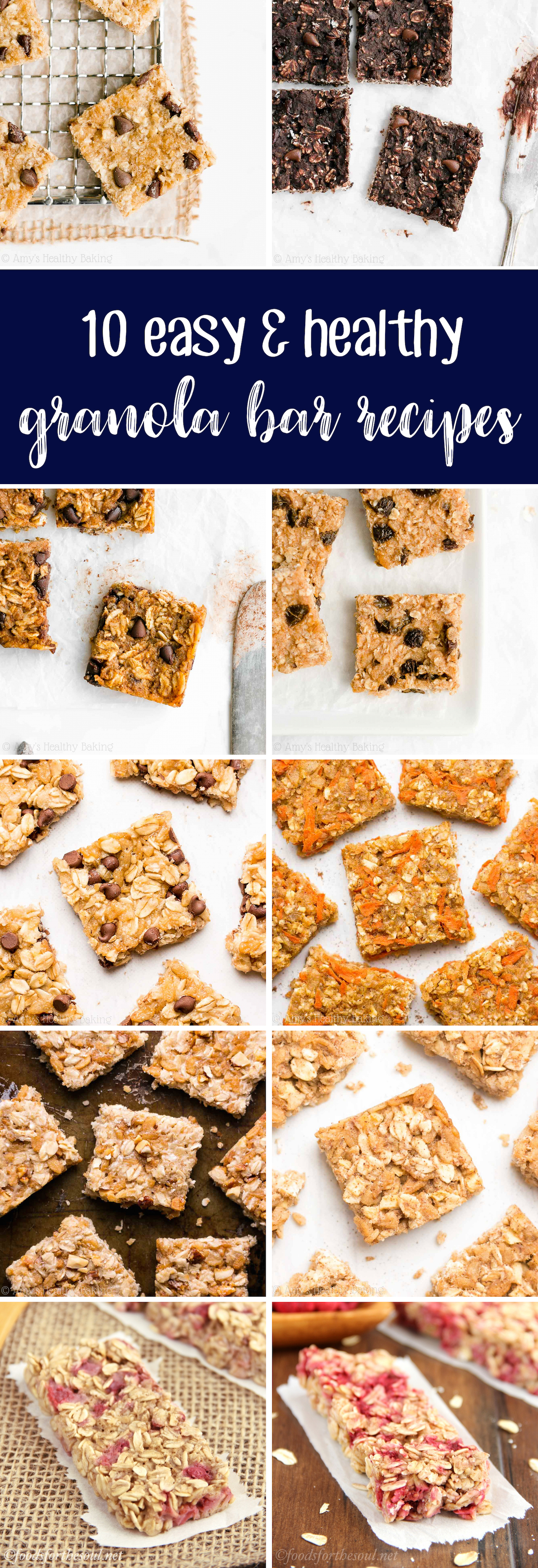 Best Easy Healthy Clean Eating Low Calorie No Sugar Chewy Granola Bar Recipes
