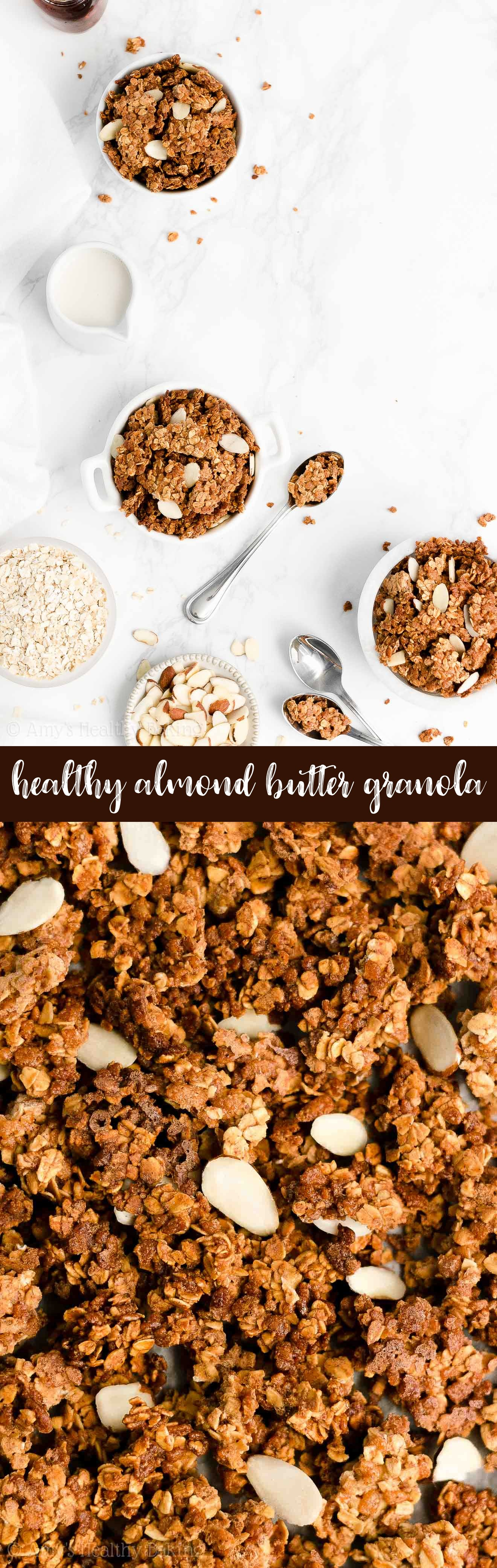 Best Ever Easy Healthy Clean Eating Gluten Free Low Calorie Homemade Almond Butter Granola
