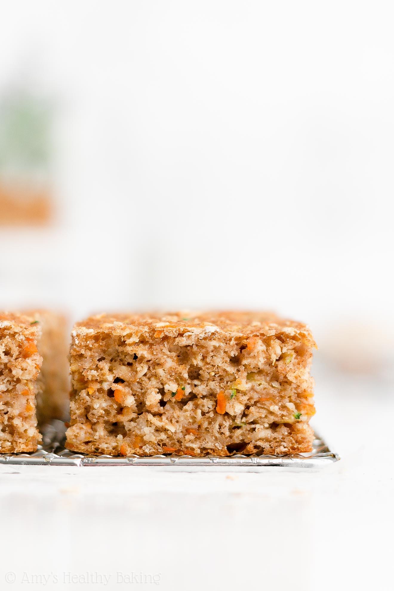 Easy Healthy Whole Wheat Greek Yogurt Carrot Zucchini Oatmeal Snack Cake
