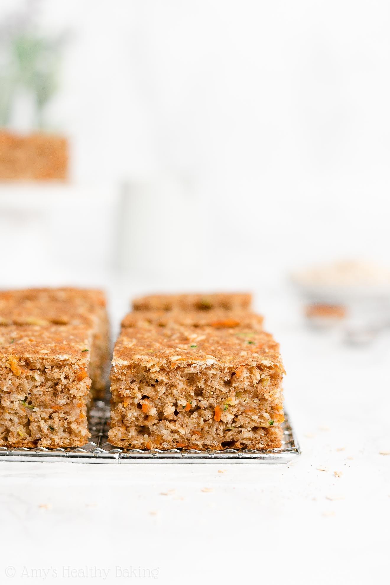 Easy Healthy Gluten Free Low Fat Moist Carrot Zucchini Oatmeal Snack Cake