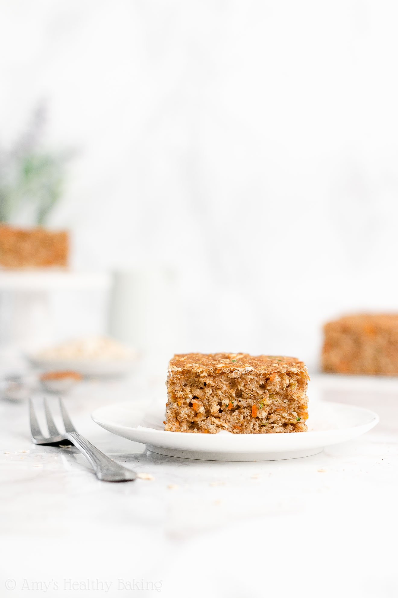 Easy Healthy Low Calorie Greek Yogurt Carrot Zucchini Oatmeal Snack Cake
