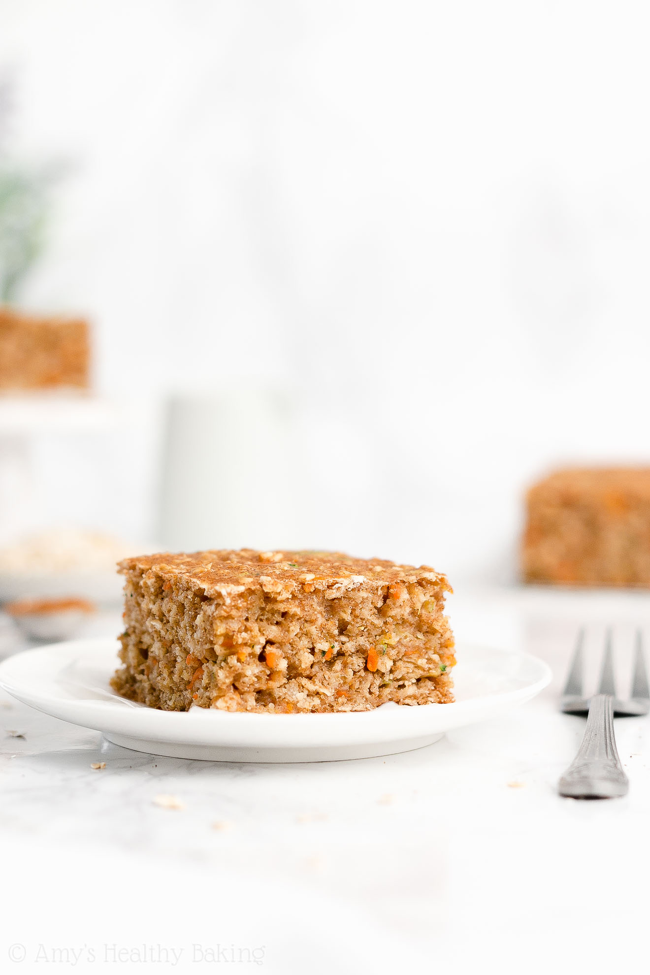 Simple Easy Healthy Clean Eating Low Fat Carrot Zucchini Oatmeal Snack Cake