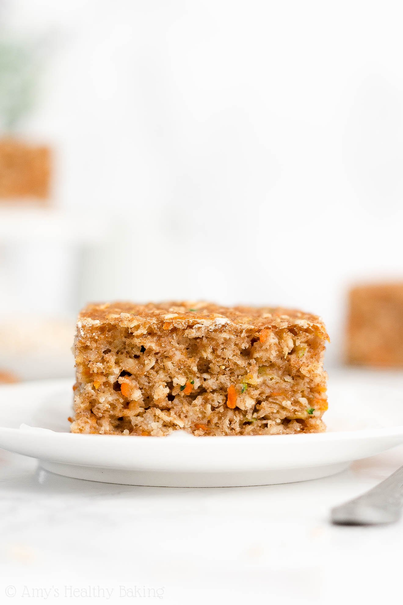 Easy Healthy Clean Eating Greek Yogurt Carrot Zucchini Oatmeal Snack Cake