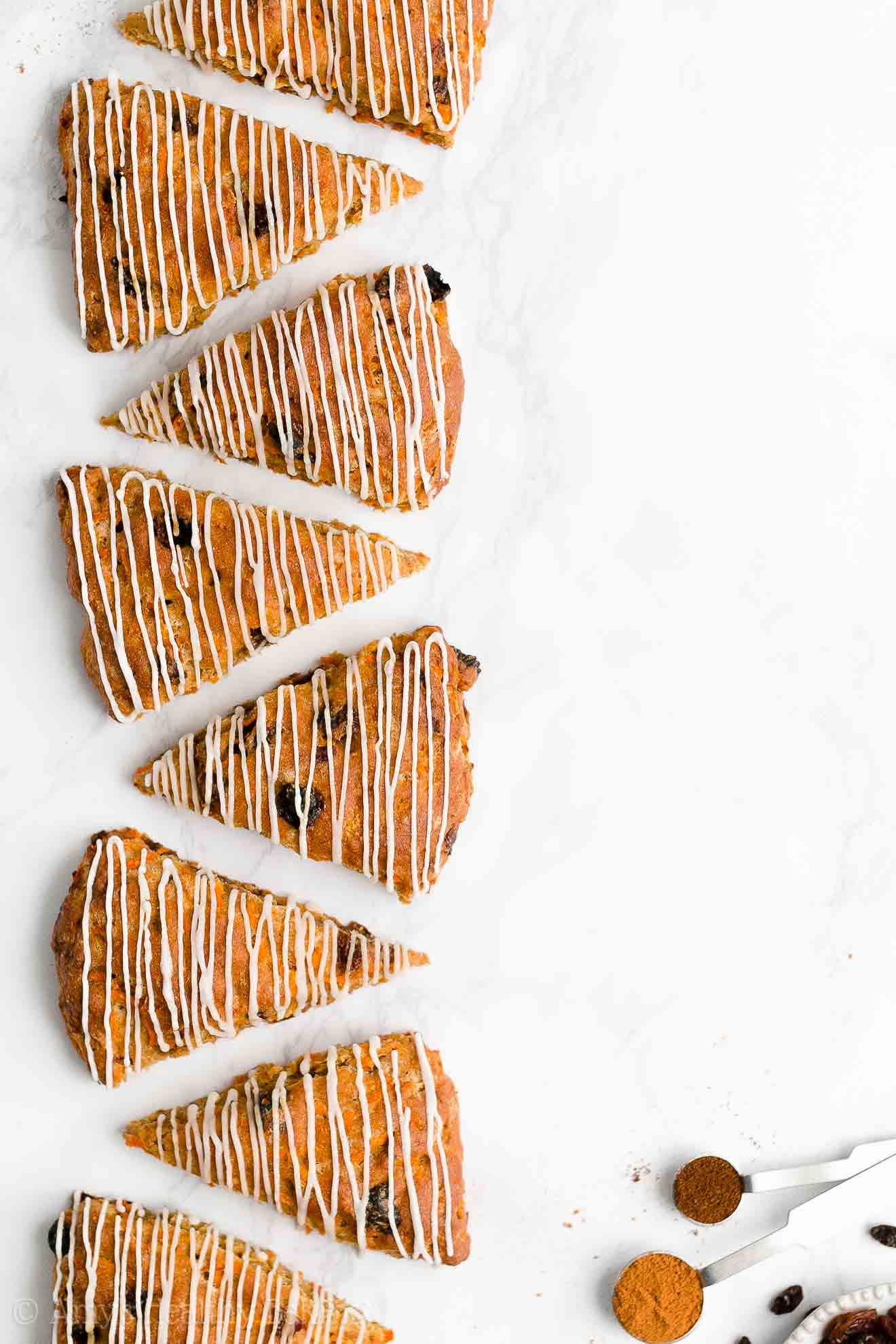 Easy Healthy Clean Eating Whole Wheat Eggless Chai Spice Carrot Raisin Scones