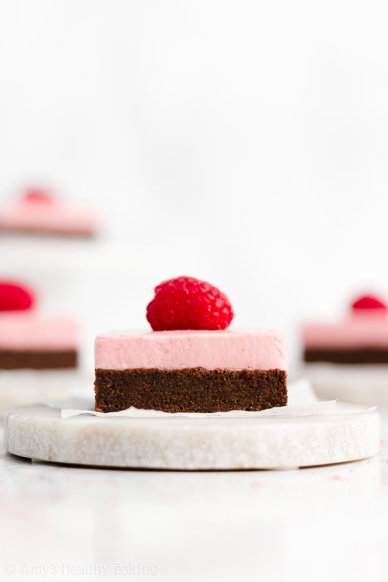 Easy Healthy Fudgy Dark Chocolate Brownies + Greek Yogurt Raspberry Frosting