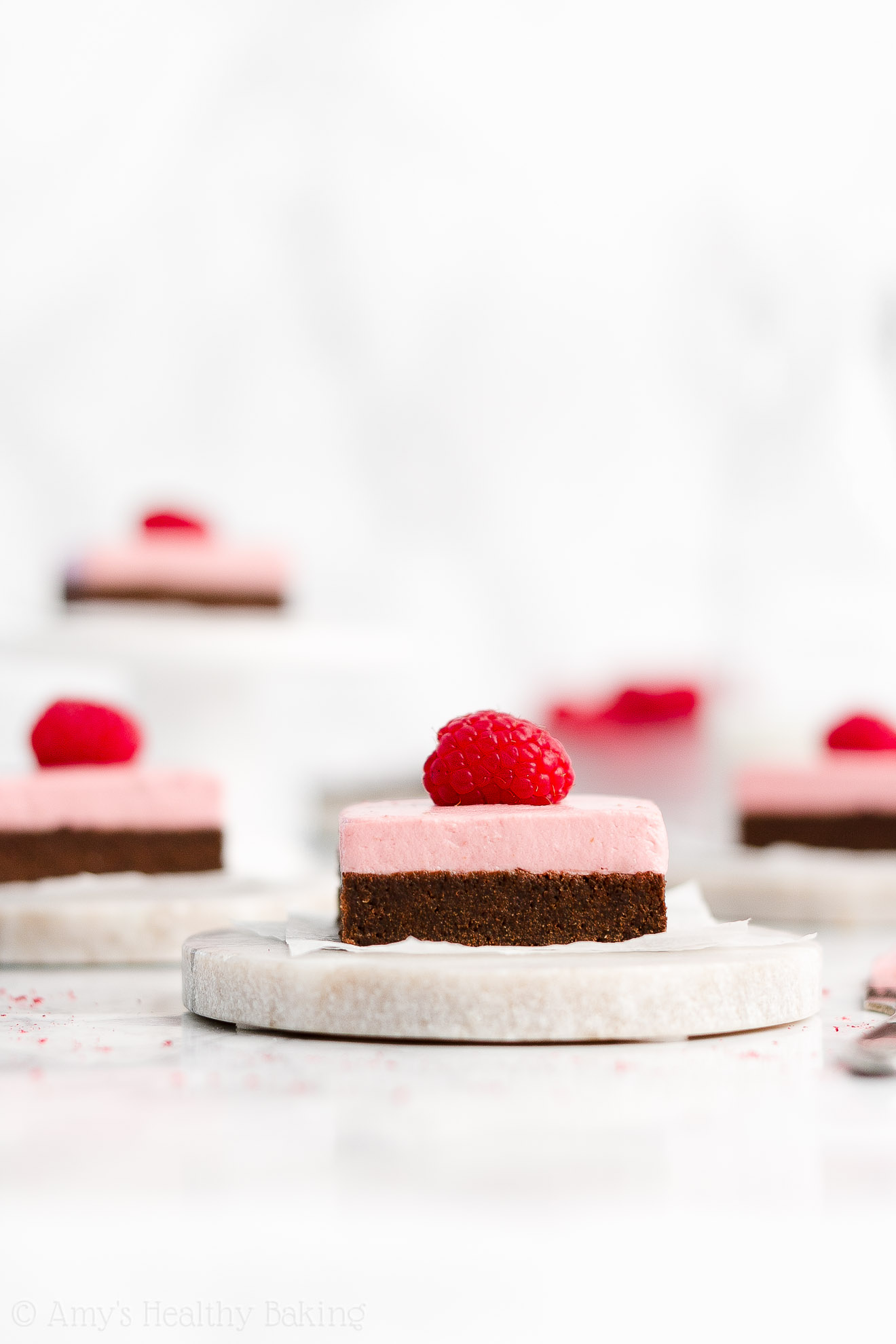 Easy Healthy Clean Eating Fudgy Dark Chocolate Brownies + No Butter No Sugar Greek Yogurt Raspberry Frosting