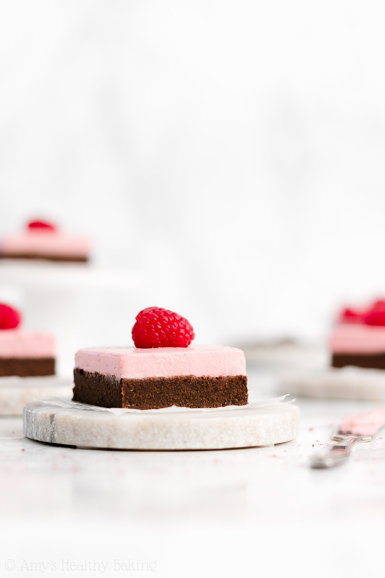 Easy Healthy Chewy Fudgy Dark Chocolate Brownies + Freeze Dried Raspberry Frosting