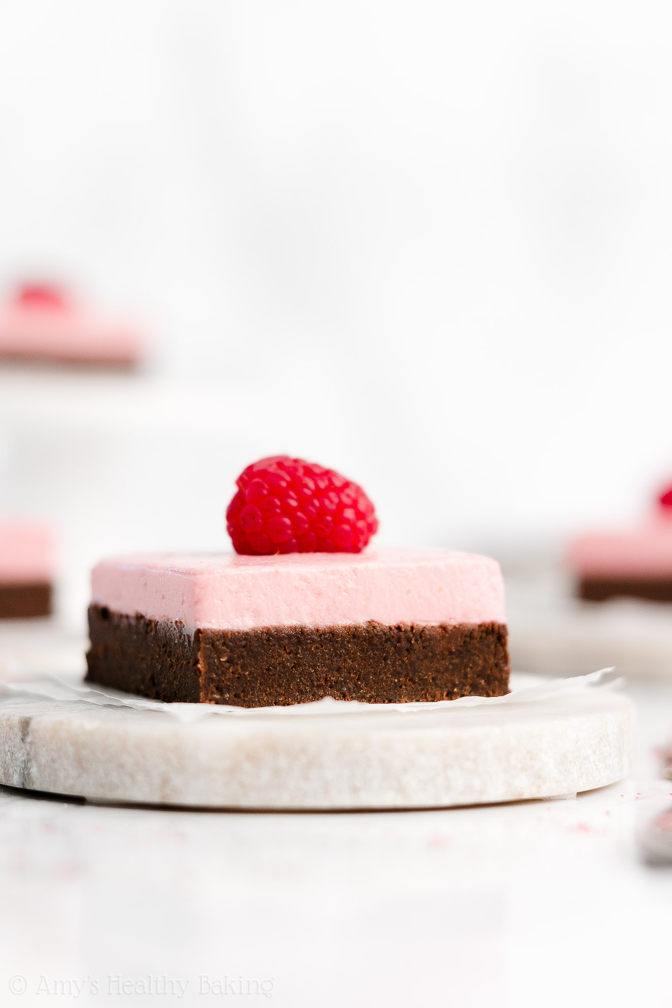 Easy Healthy Low Calorie Super Fudgy Dark Chocolate Brownies + Healthy Raspberry Frosting with Freeze Dried Raspberries